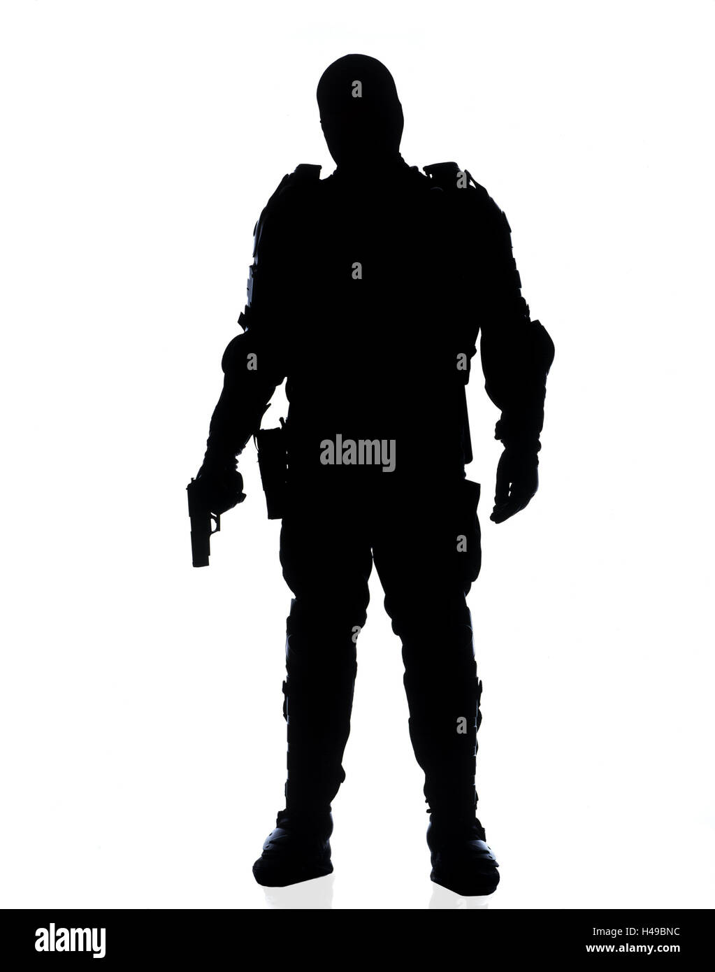 Policeman, protective clothing, stand, hold hand, gun, silhouette, police, occupation, man, official, police officer, - Stock Image