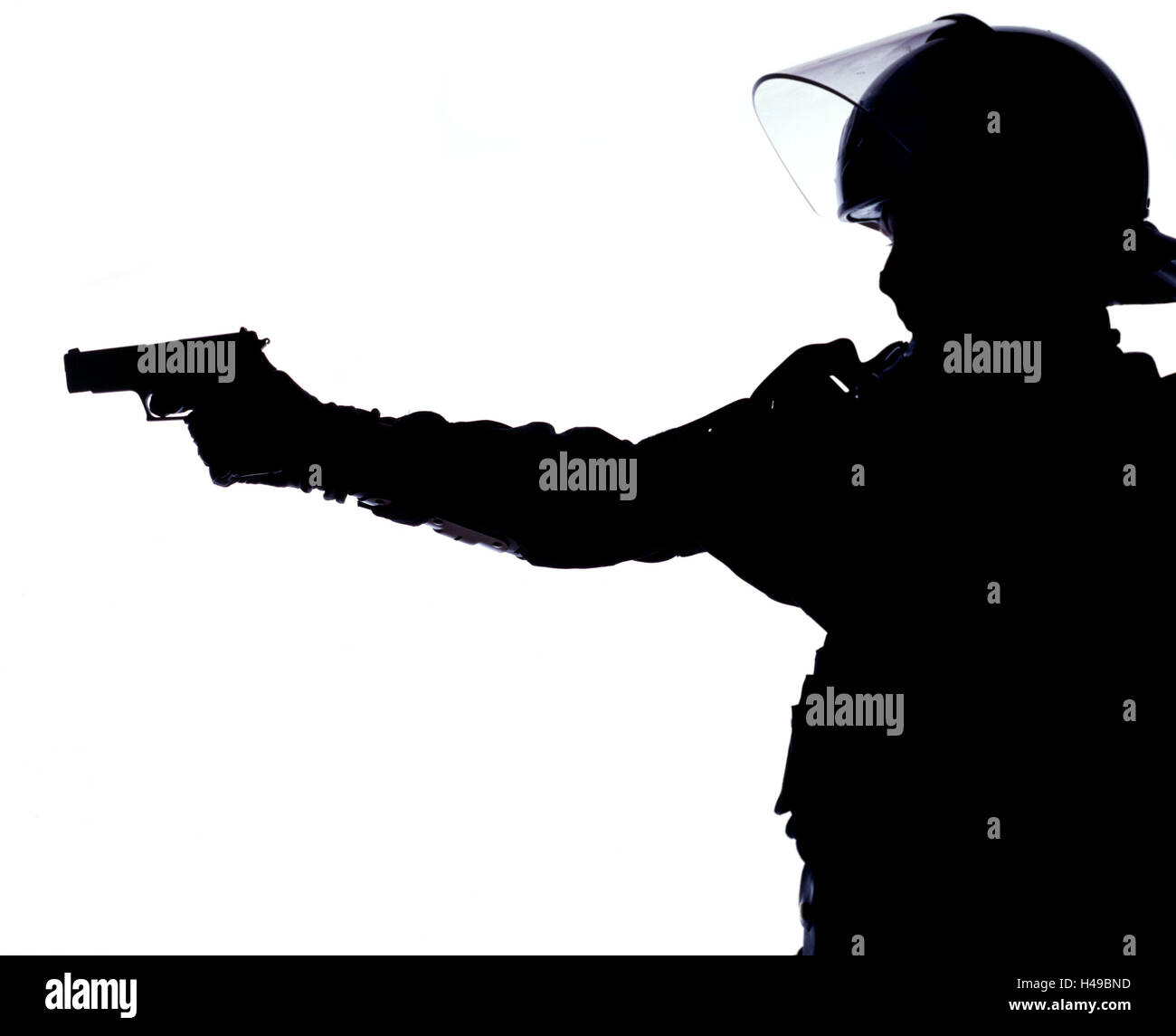 Policeman, protective clothing, shooting practise, aim, portrait, side view, silhouette, police, occupation, man, - Stock Image