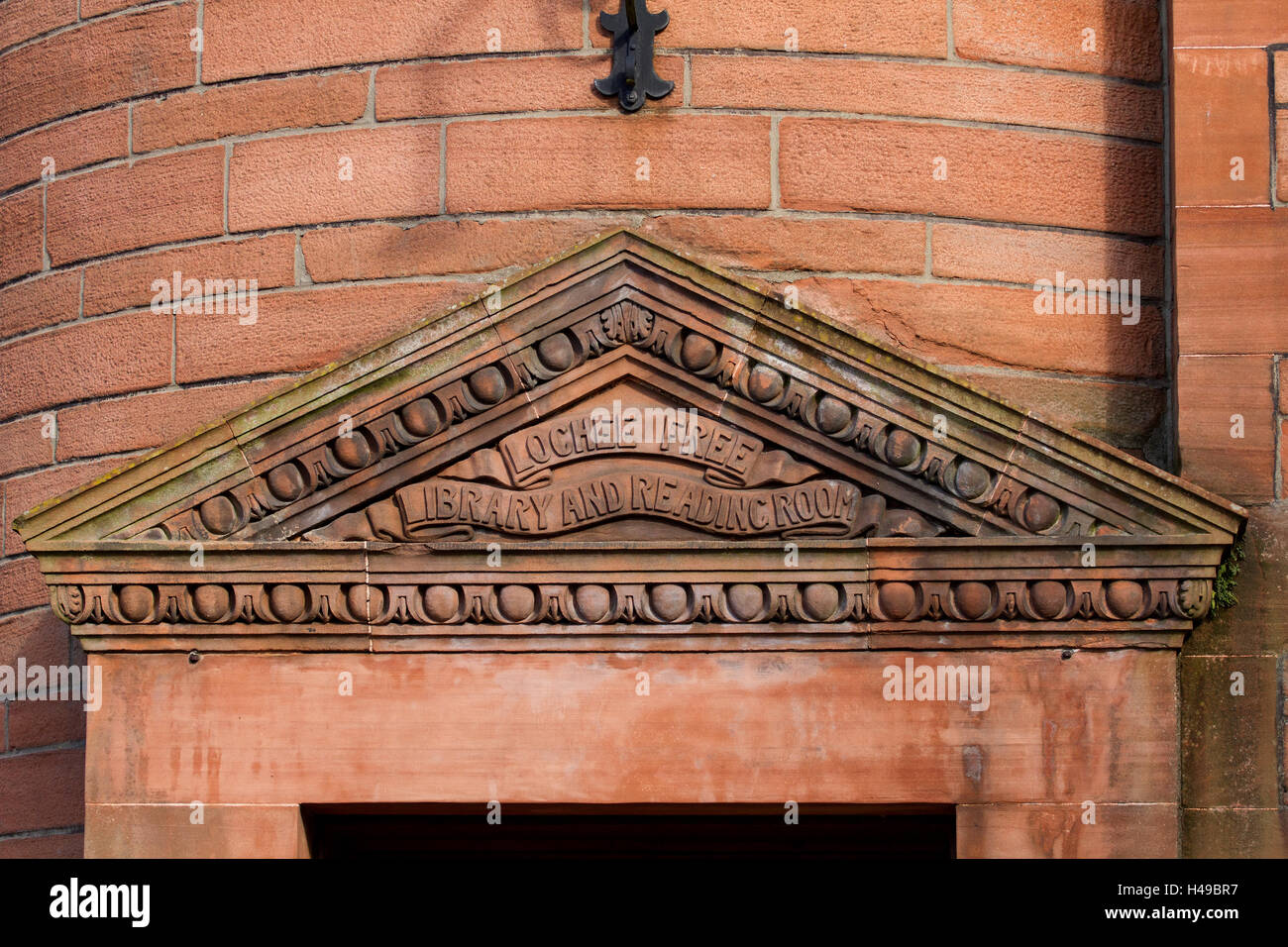 Front entrance of the 1894 Lochee Public Library and Reading-Room in Dundee,.UK - Stock Image