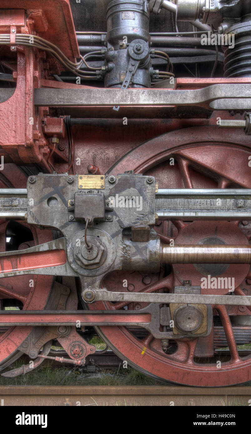 Steam locomotive, spoke wheels, Stock Photo