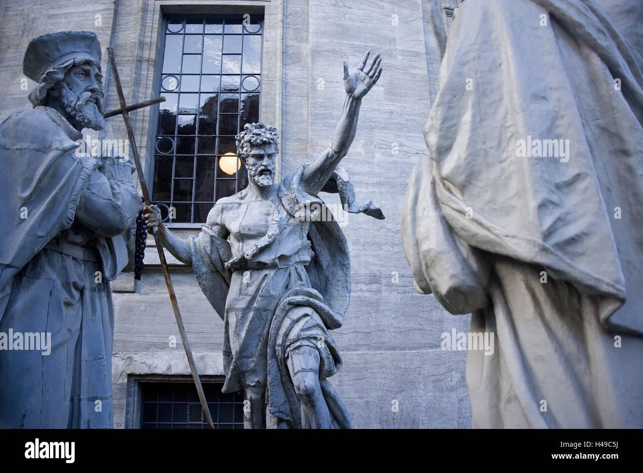 Denmark, Copenhagen, Frederikskirken, statues, detail, capital, marble church, church, structure, iron fence, freeze - Stock Image