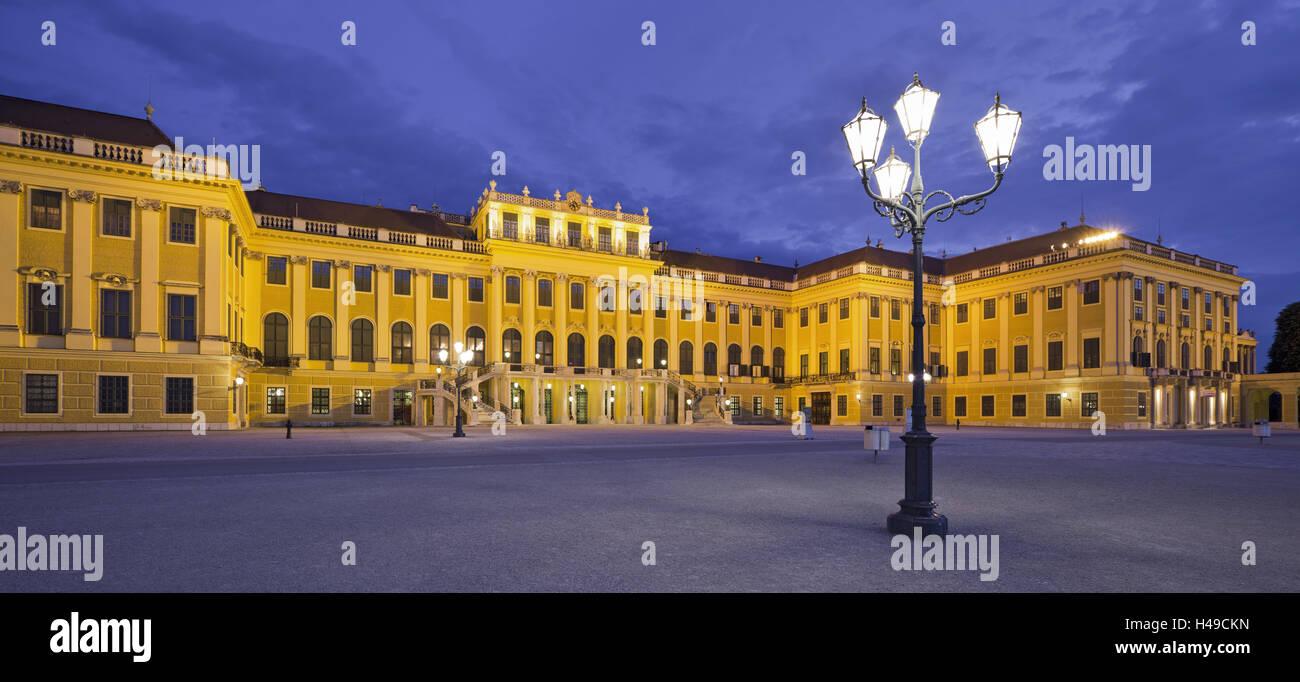 Austria, Vienna, 13th district, Hietzing, castle Schönbrunn, lantern, evening, - Stock Image