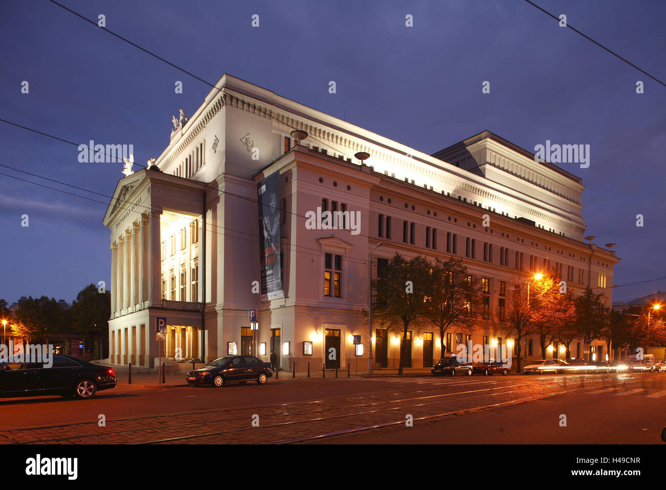 Latvia, Riga, Latvian National Opera, the evening, - Stock Image