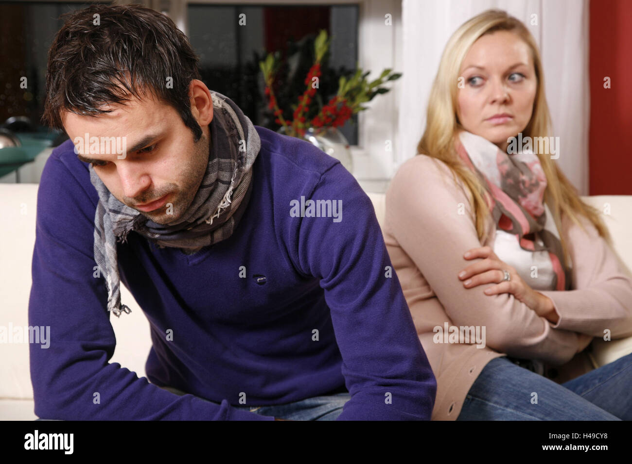 Couple, couch, sit, back in back, fight, company, discord, analysis, disappointment, criticism, facial play, disregard, Stock Photo