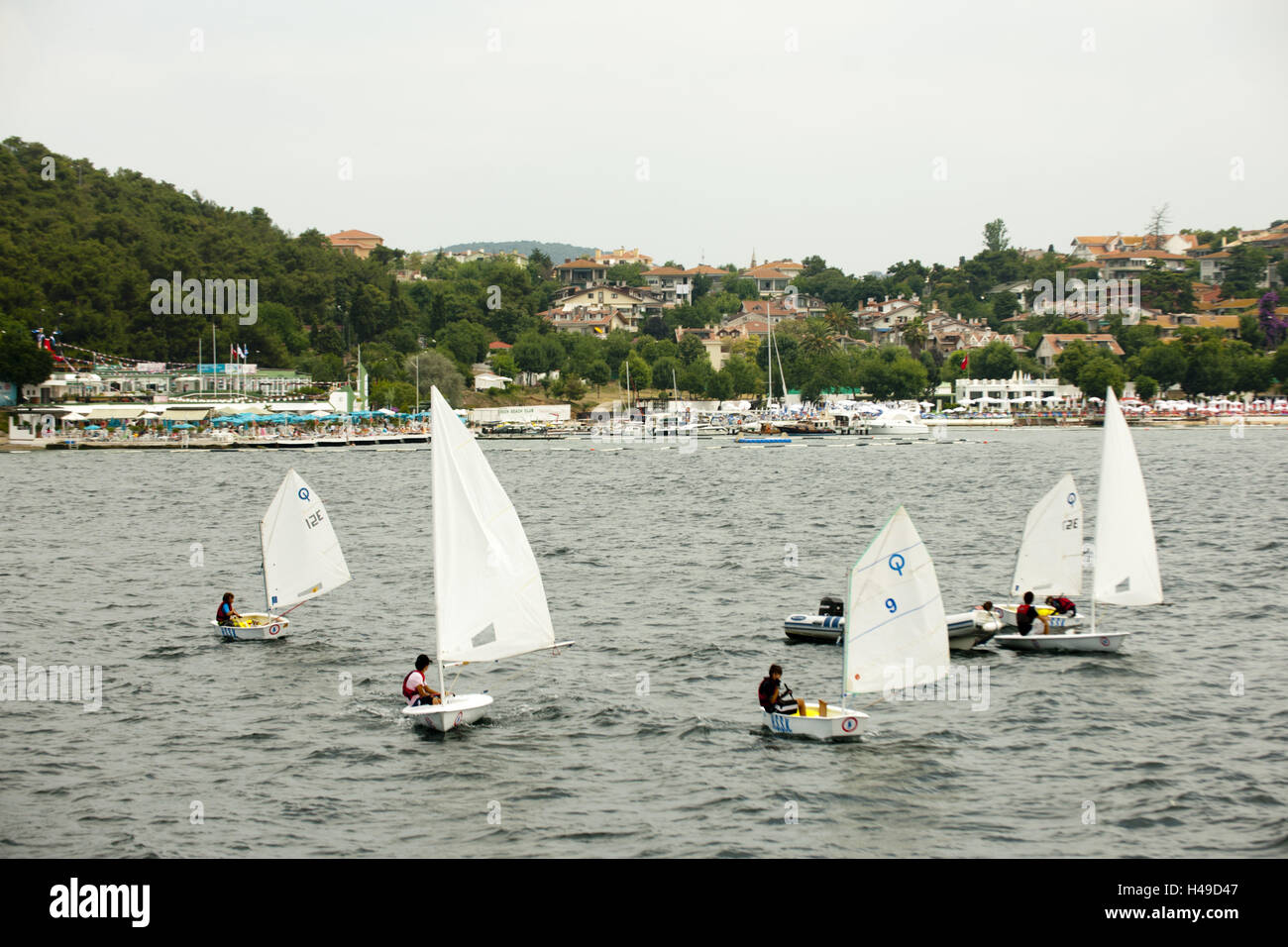 Turkey, Istanbul, prince's islands in the Marmarameer, optimists in front of Heybeliada, - Stock Image