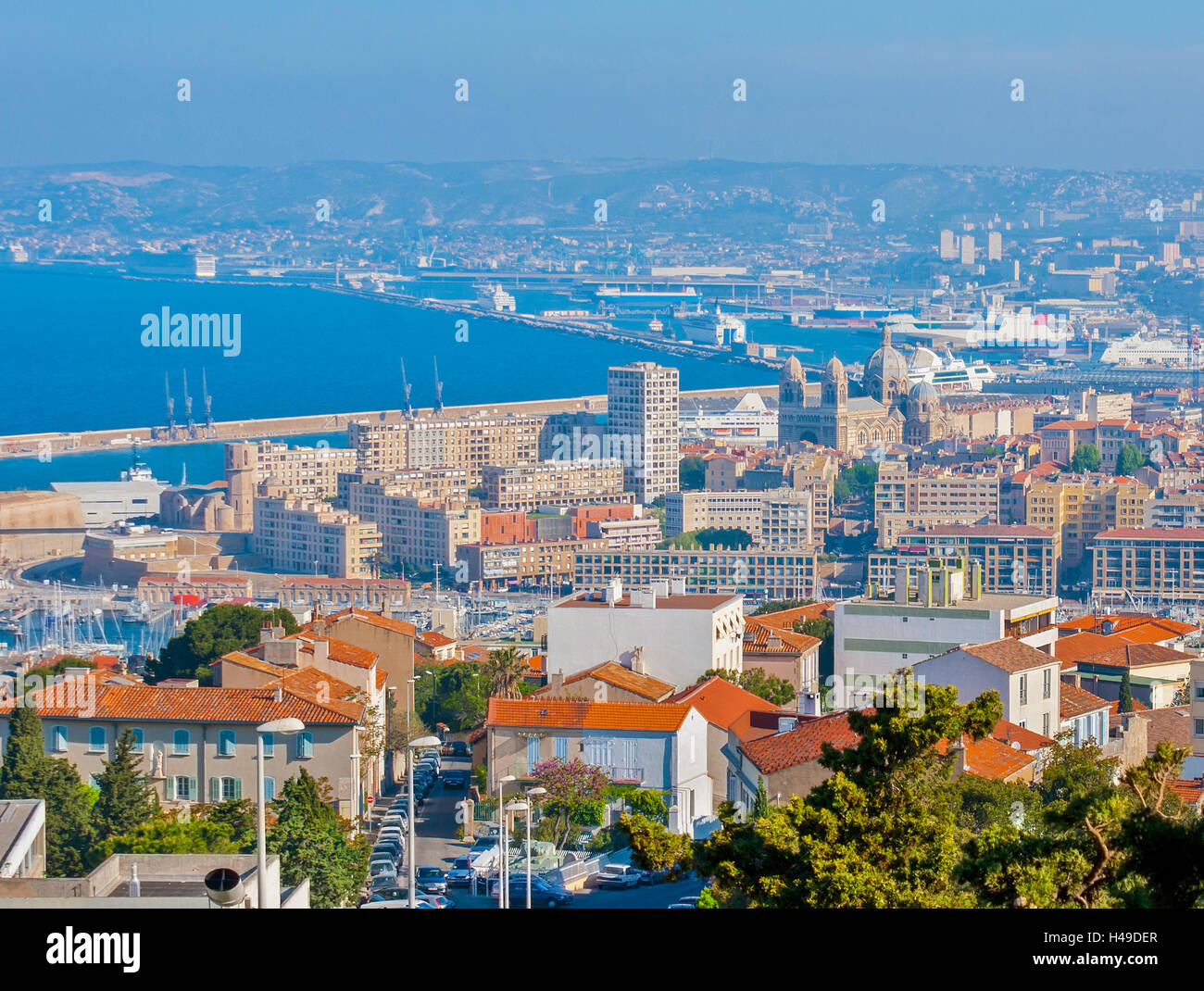 Aerial view of Marseille cathedral and the Gulf of Lion. Stock Photo