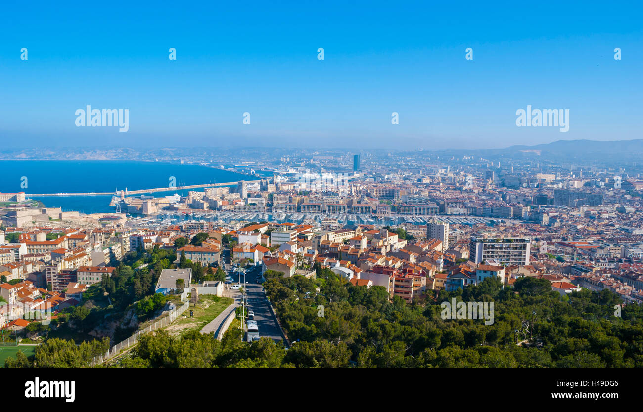 The cityscape of Marseille with it's famous port. Stock Photo