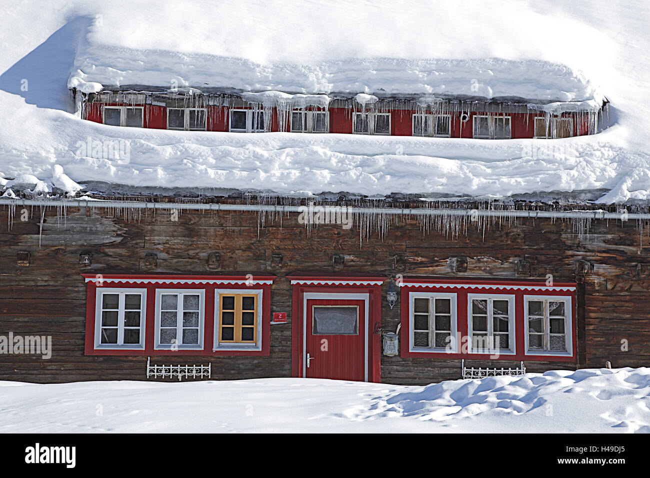 Wooden house, snow, icicle, Stock Photo