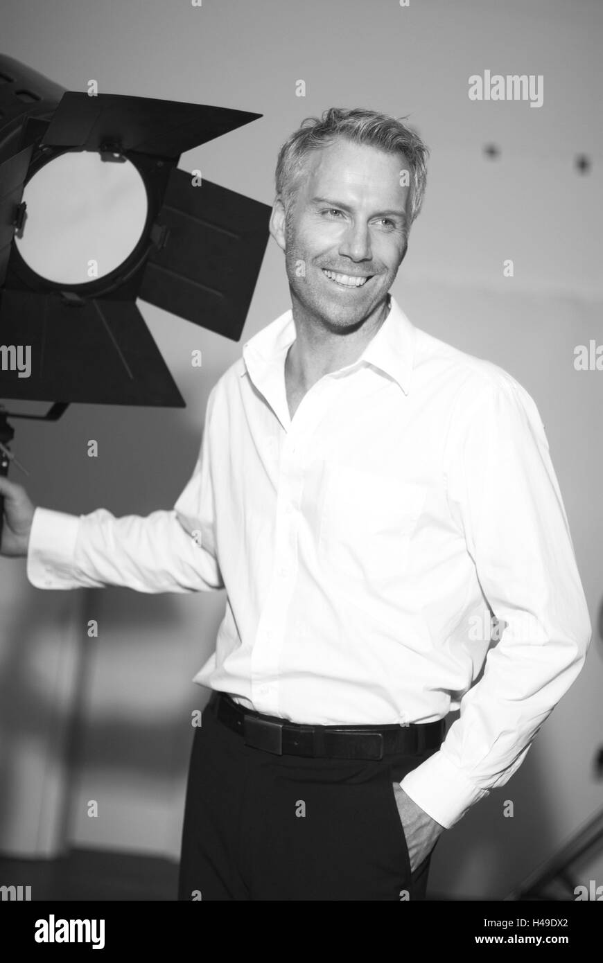 Man, middle age, studio lamp, b/w, , - Stock Image