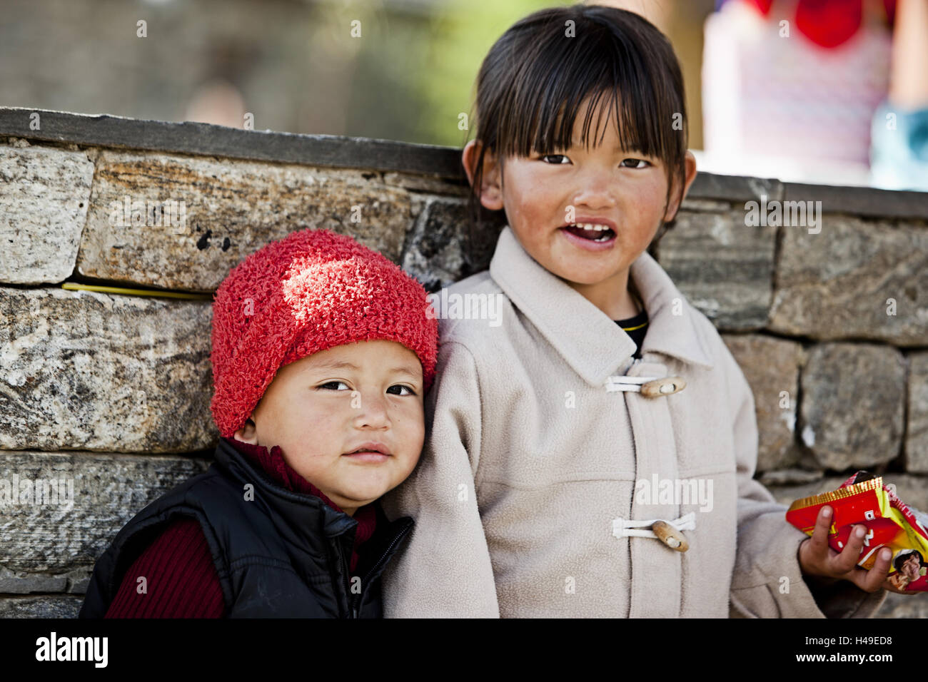 Kingdom Bhutan, Bhutan broad children, - Stock Image