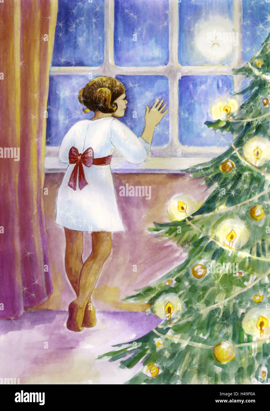 Subscription, Christmas tree, girl, window, look out, wait, illustration, painting, Christmas, for Christmas, child, - Stock Image