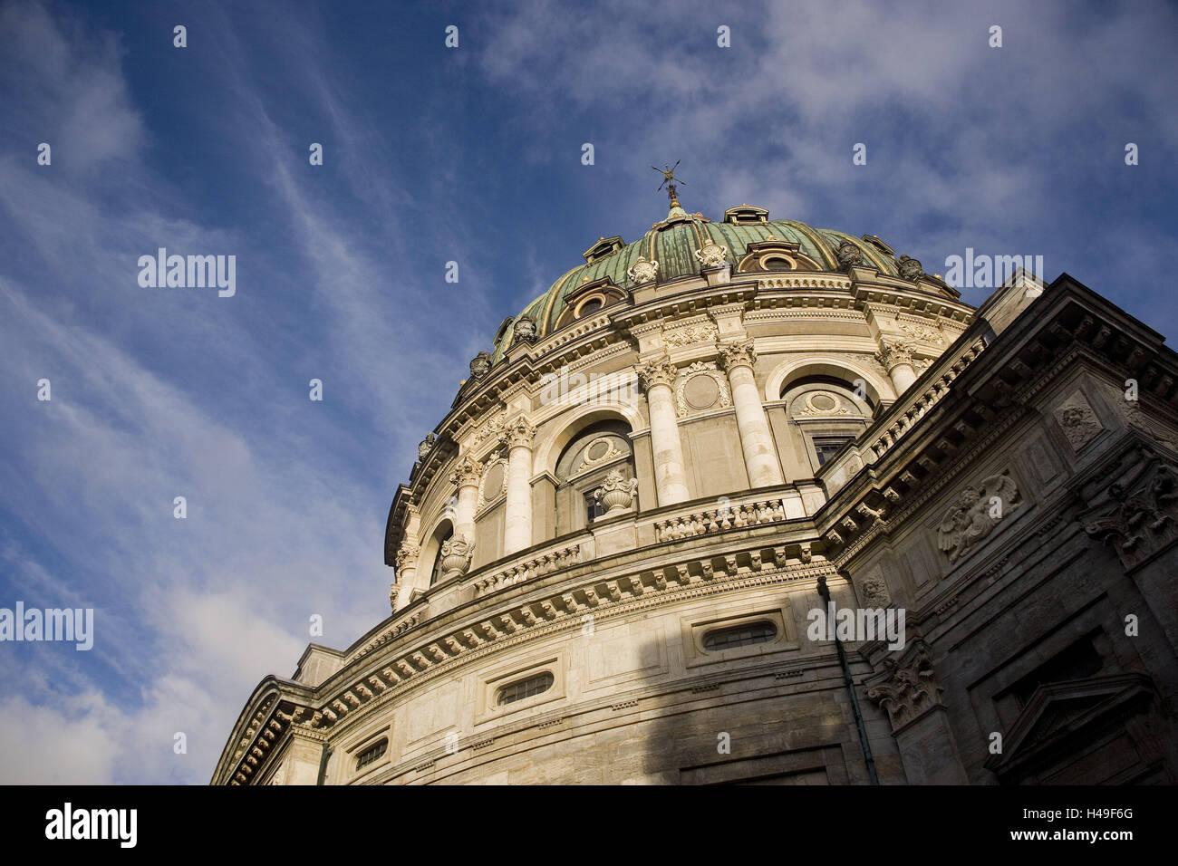 Denmark, Copenhagen, Frederikskirken, detail, from below, capital, marble church, church, structure, dome church, - Stock Image