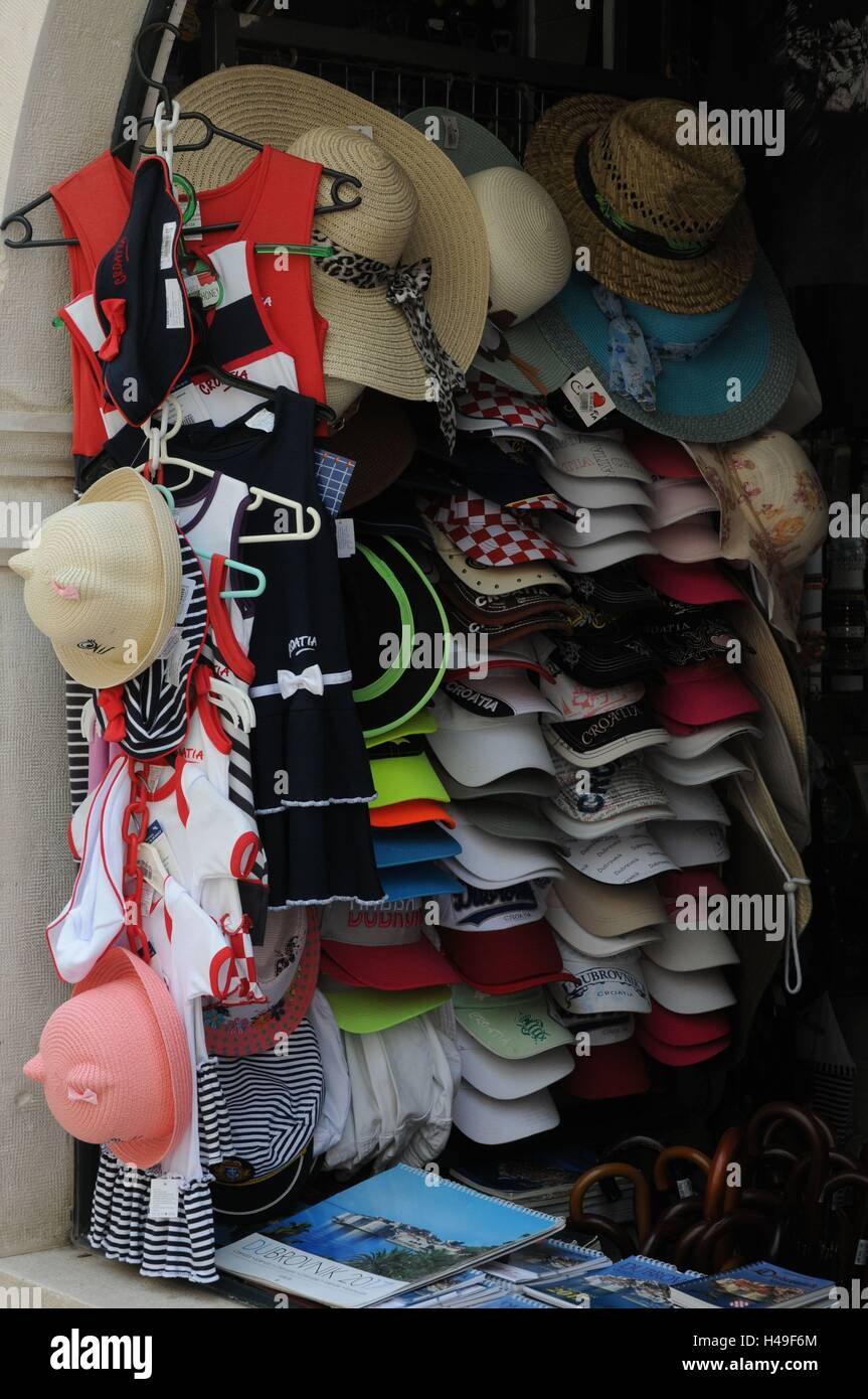 Hats and caps for sale in a gift shop in Dubrovnik, Croatia. - Stock Image