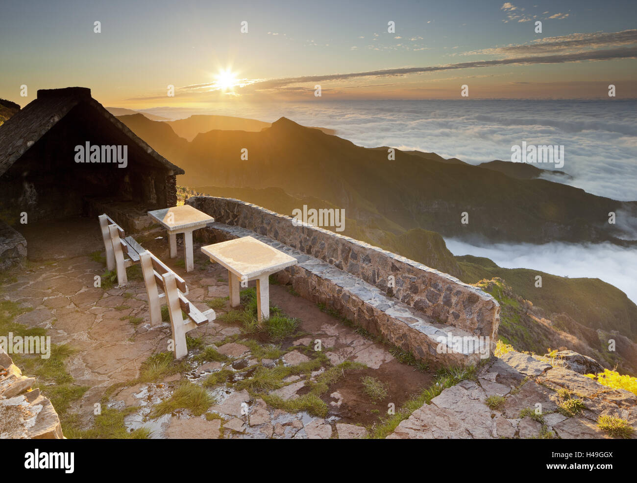 Resting place near Terxeira, stone bank, sunset, Madeira, Portugal, - Stock Image