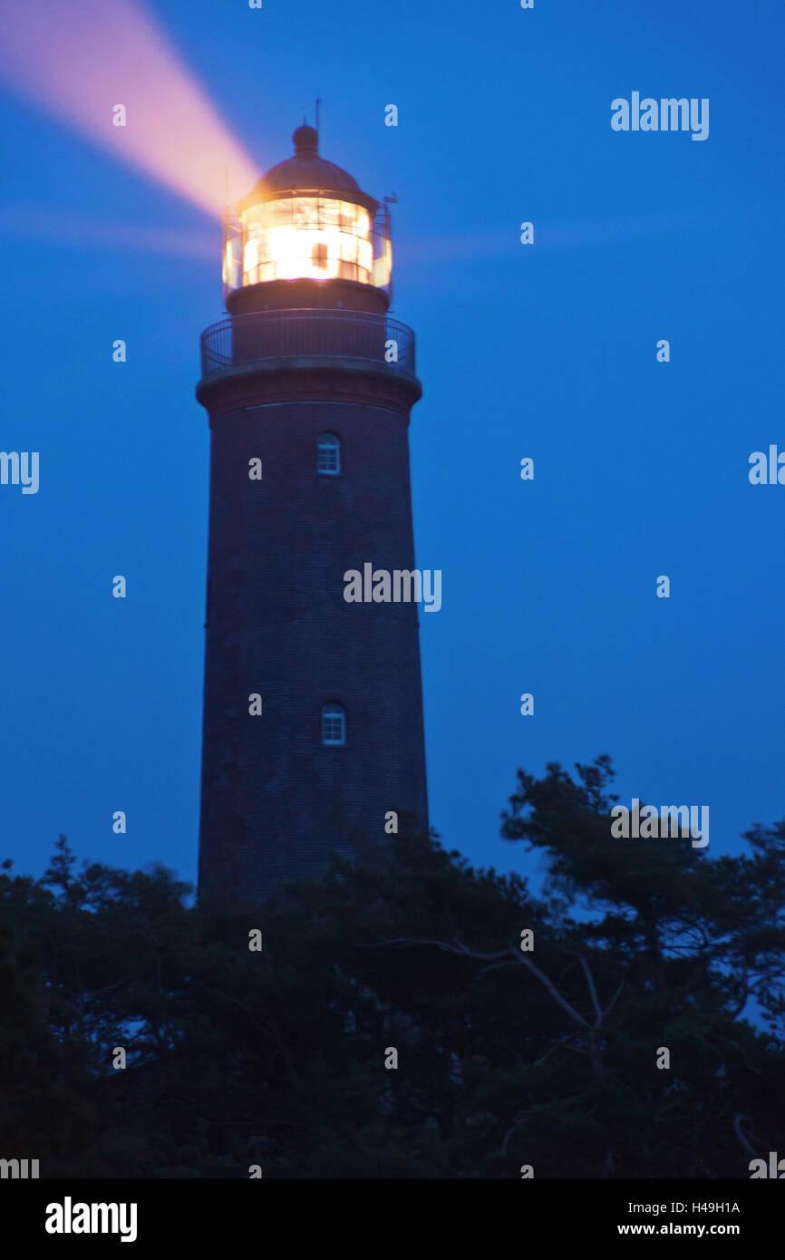 Lighthouse on the Darß Peninsula at Darßer Ort (village) by night, - Stock Image