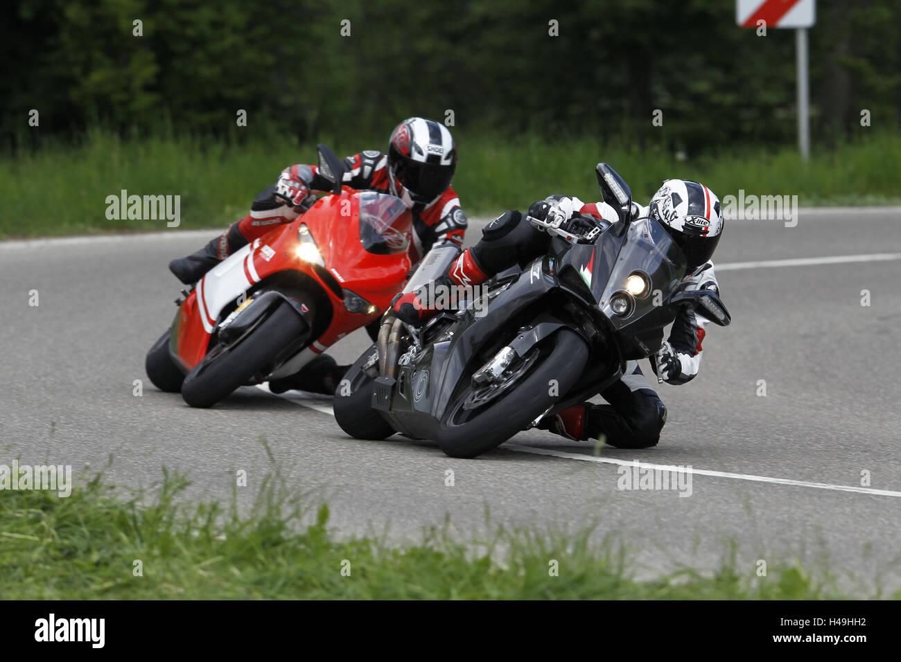 Motorcyclist, motorcycle, motorcycles 2nd group, Bimota Millenovantotto, Ducati Desmosedici RR, noble Italian, bend, - Stock Image