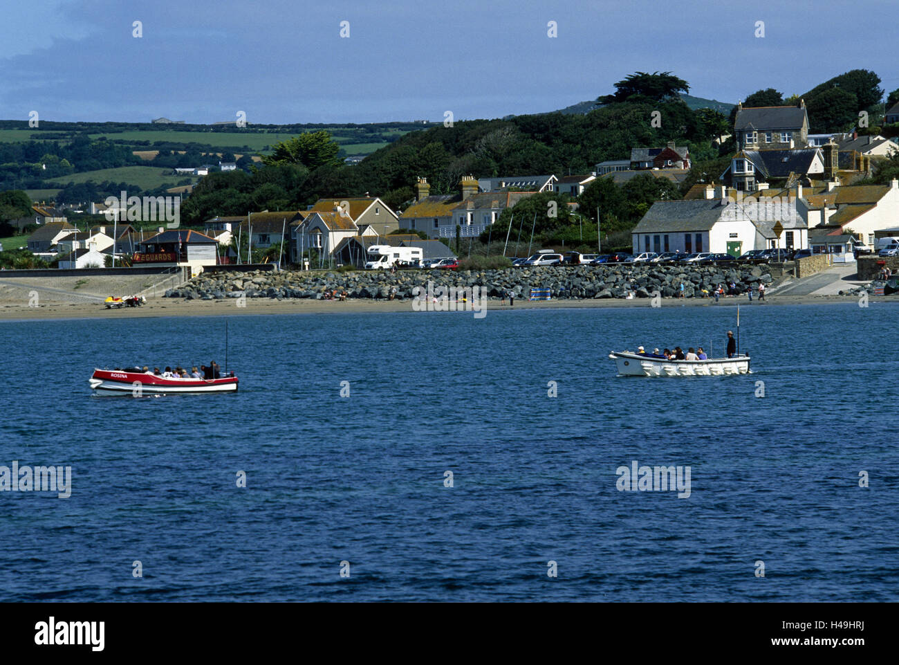 Great Britain, Cornwall, Marazion, ferryboats, local view, - Stock Image