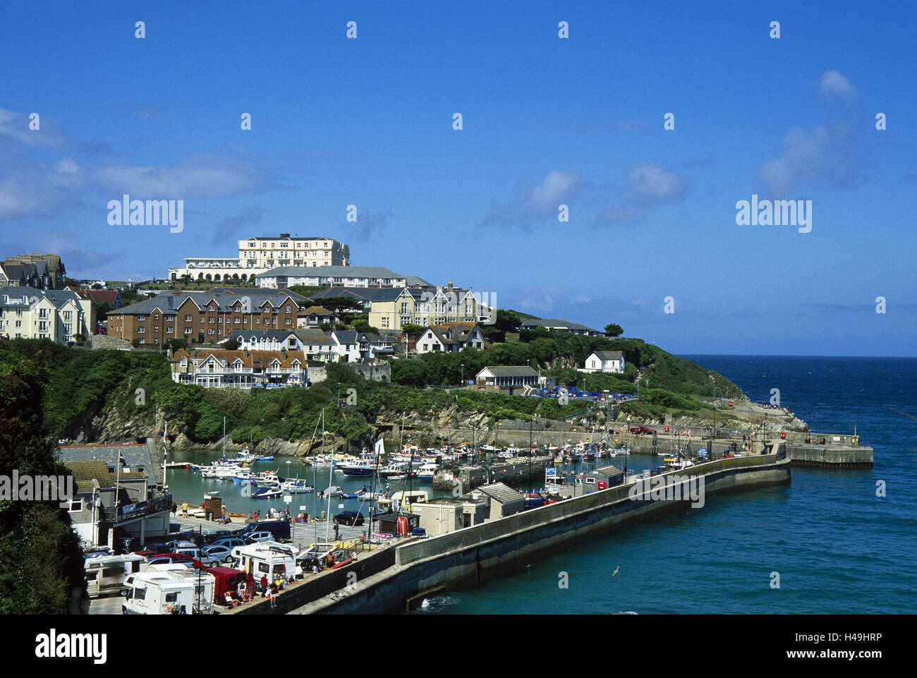 Great Britain, Cornwall, Newquay, harbour, boots, - Stock Image