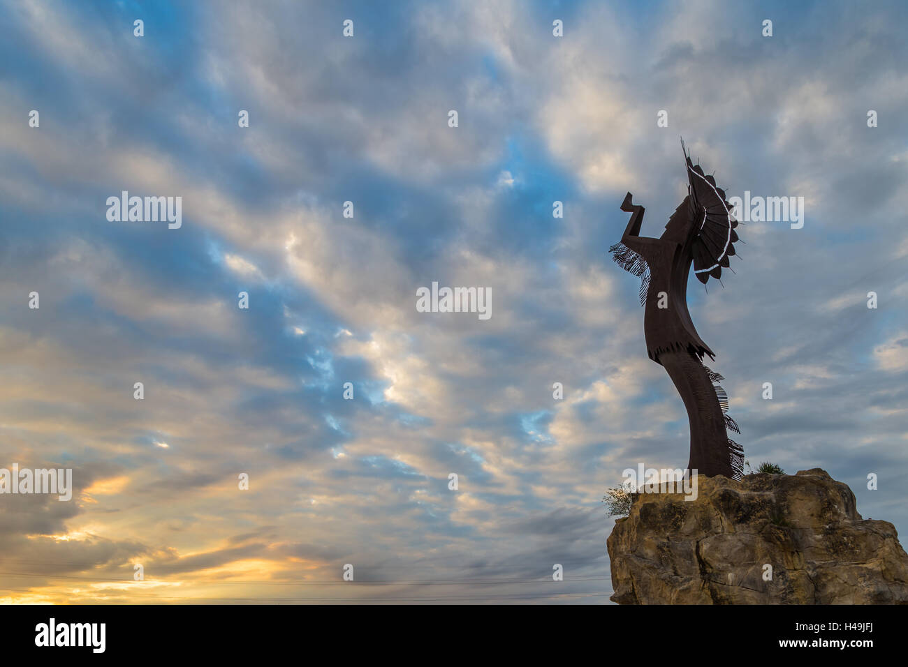 Keeper of the Plains in Wichita, Kansas near sunrise - Stock Image