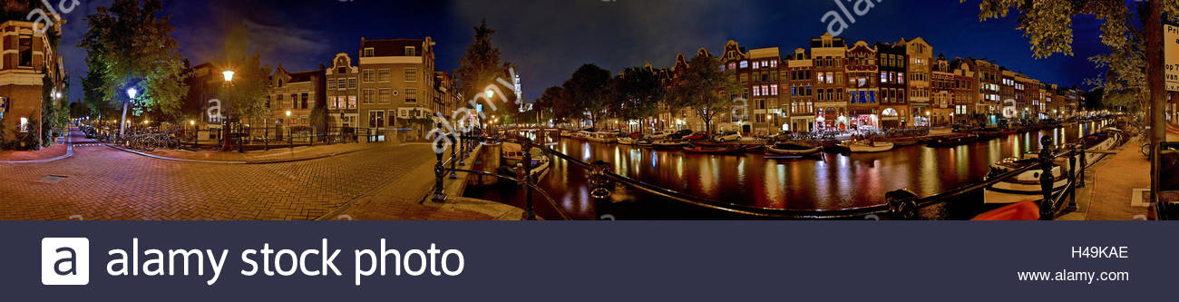 Amsterdam, Prinsengracht, by night, - Stock Image