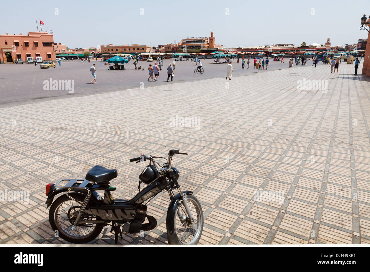 During the day Jamaa el Fna is almost empty place - Stock Image