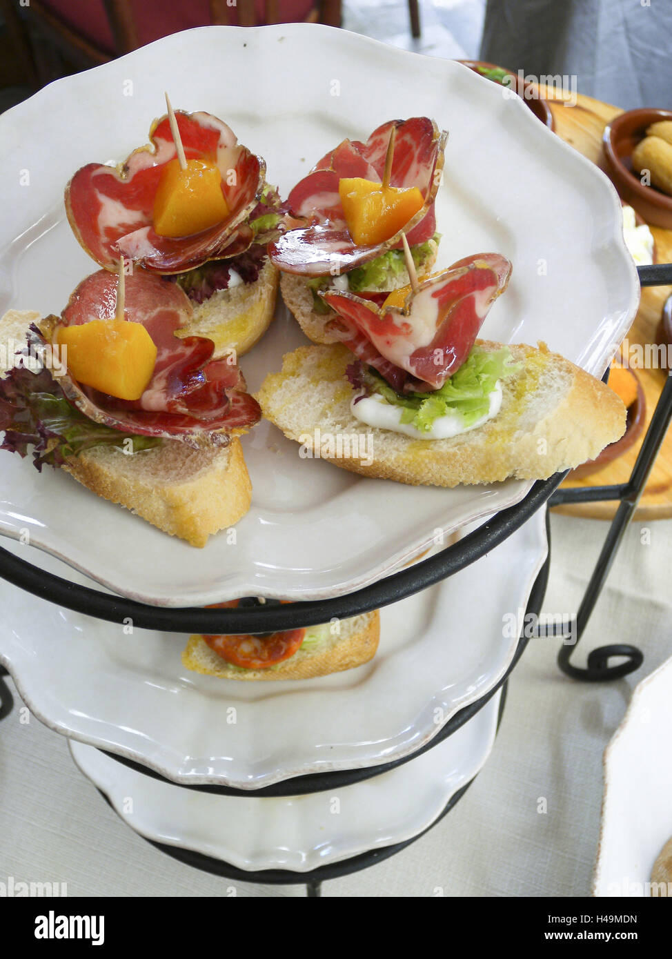 Etagere with Tapa, snack, food, Majorca, Spain, - Stock Image