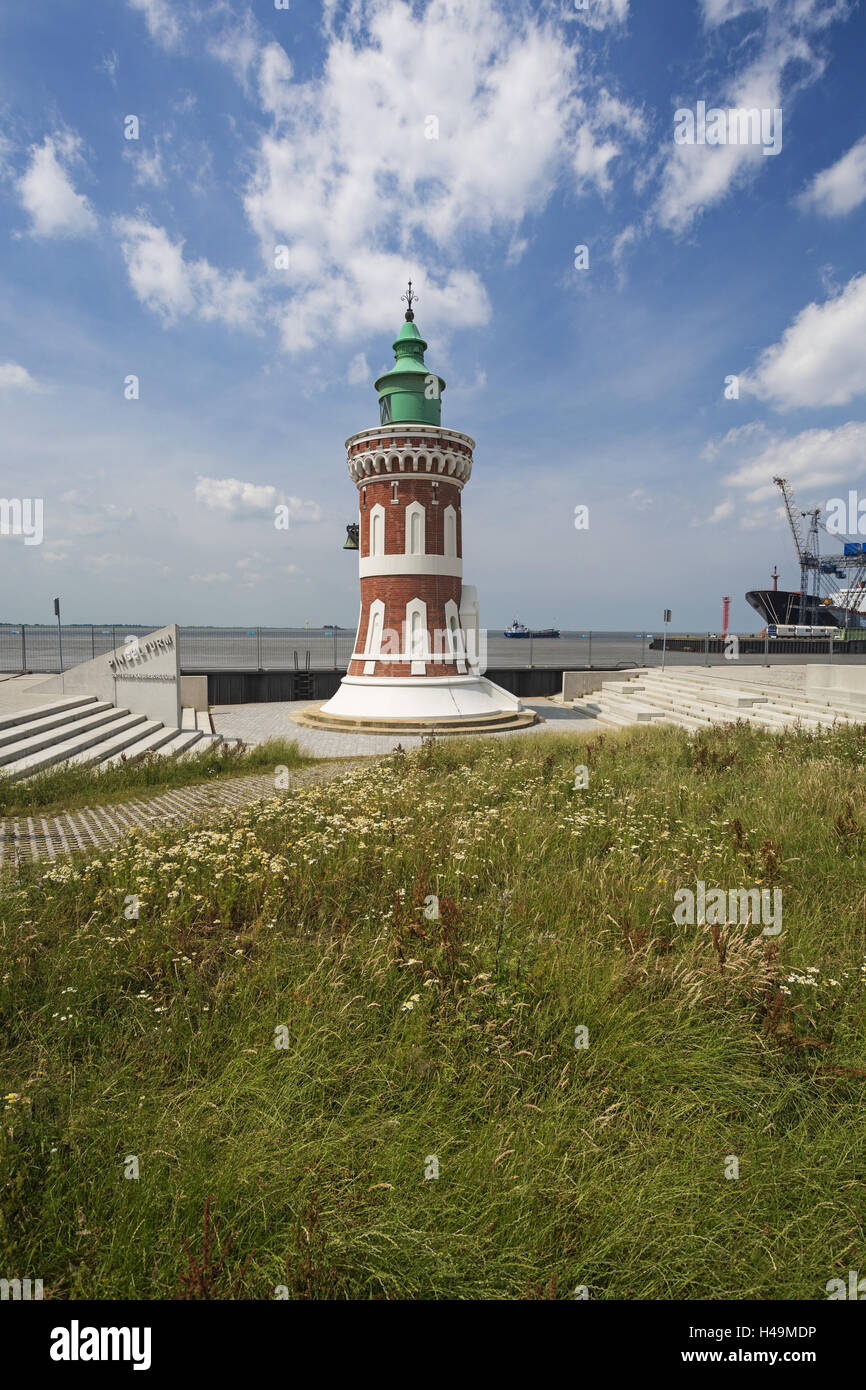 Pin gel tower, lighthouse imperial sluice east fire, Germany, Bremerhaven, - Stock Image