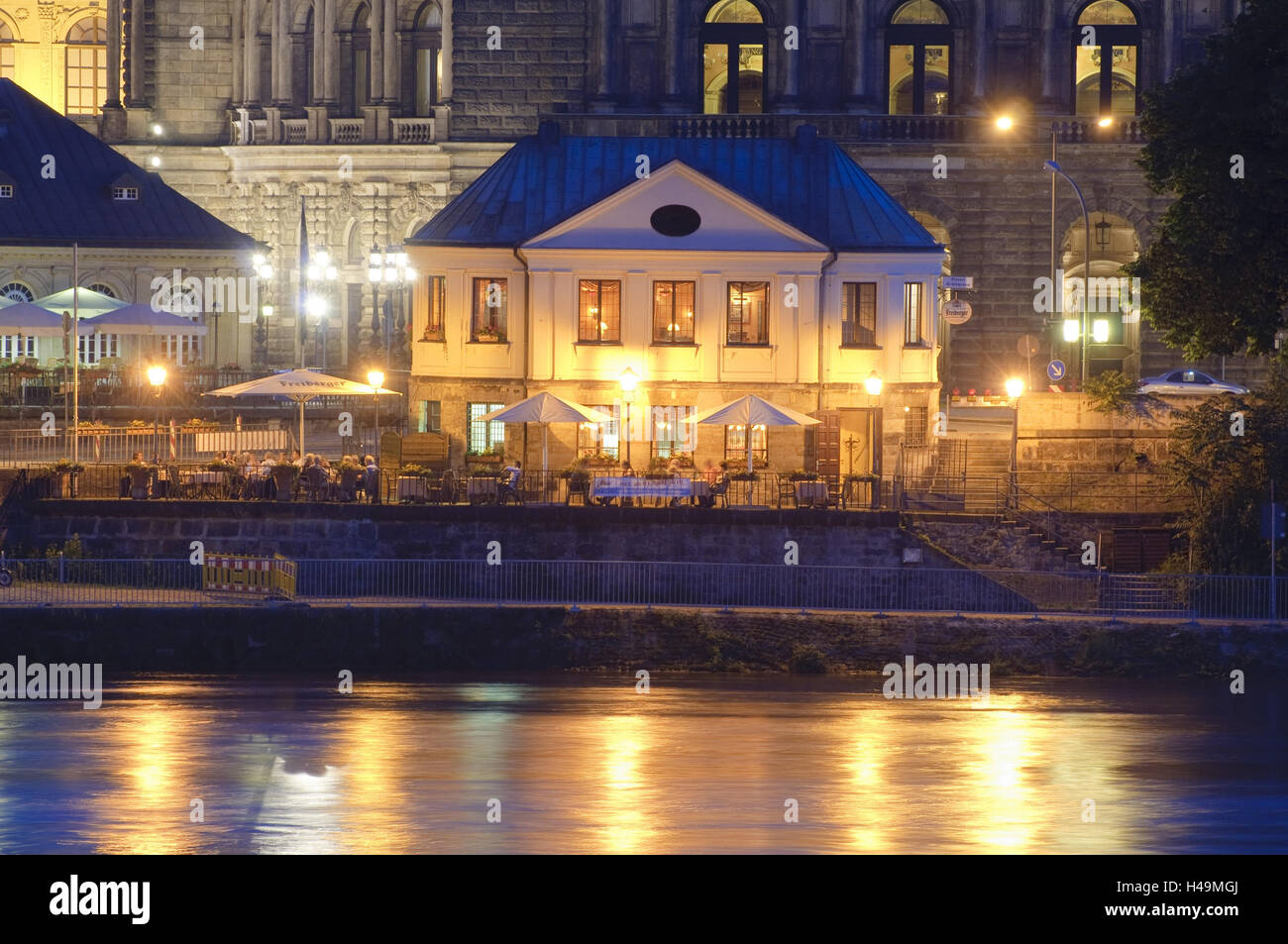 Bastion small castles, dusk, Dresden, Saxon, Germany, - Stock Image
