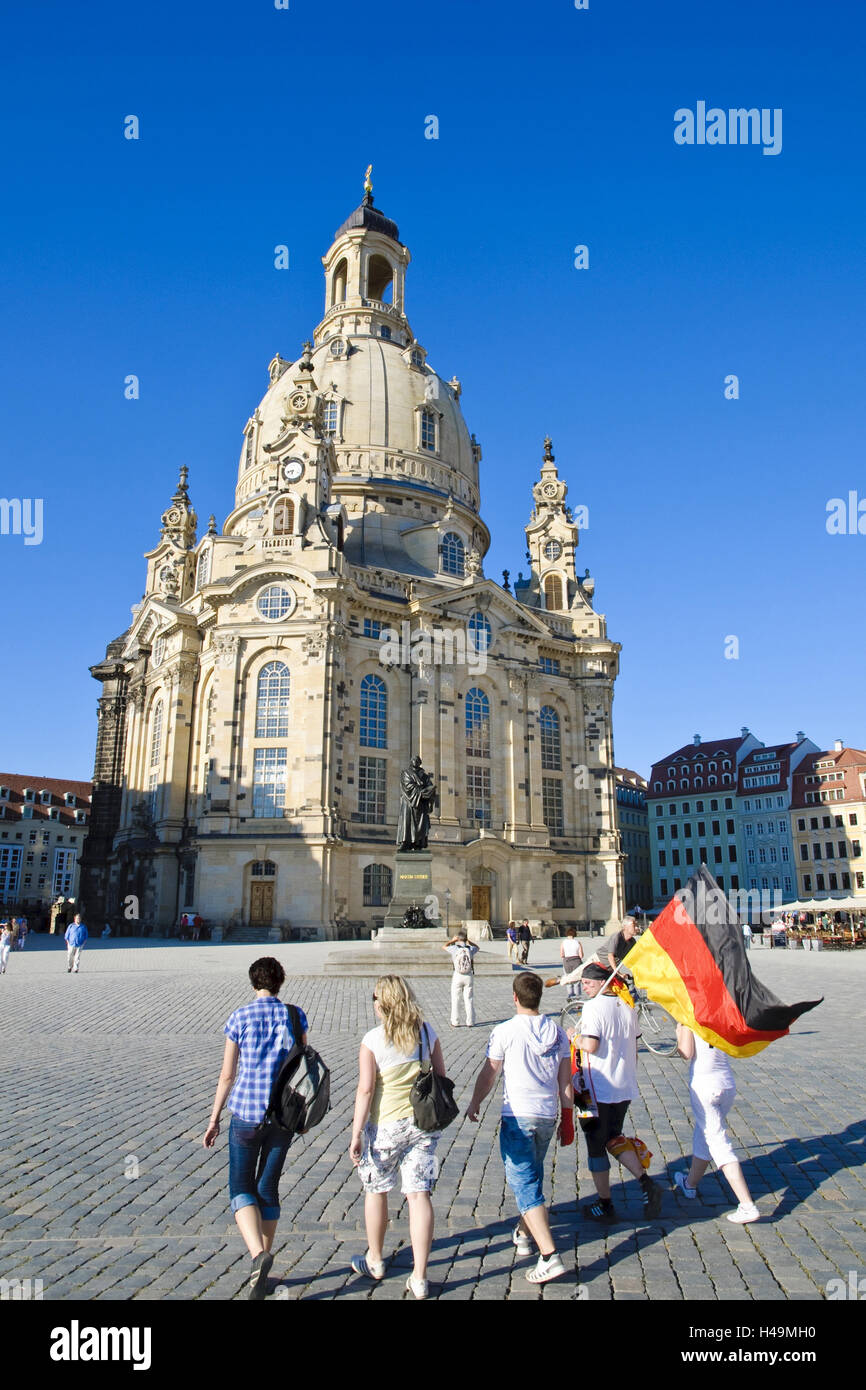 New market and Church of Our Lady, Dresden, Saxon, Germany, Stock Photo