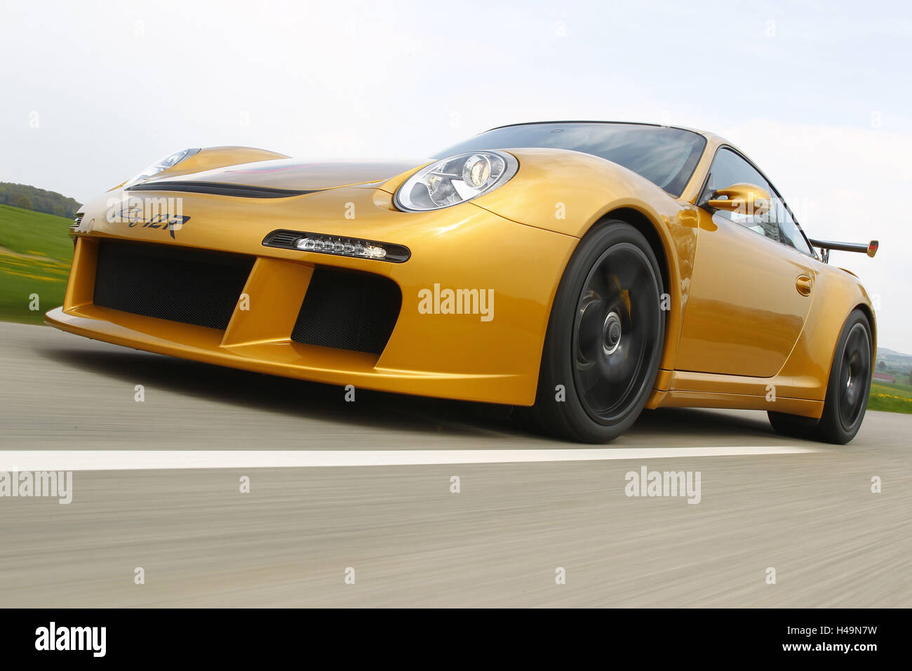 Car, Ruf Rt 12R, in motion, dynamic, tilted from the front, - Stock Image