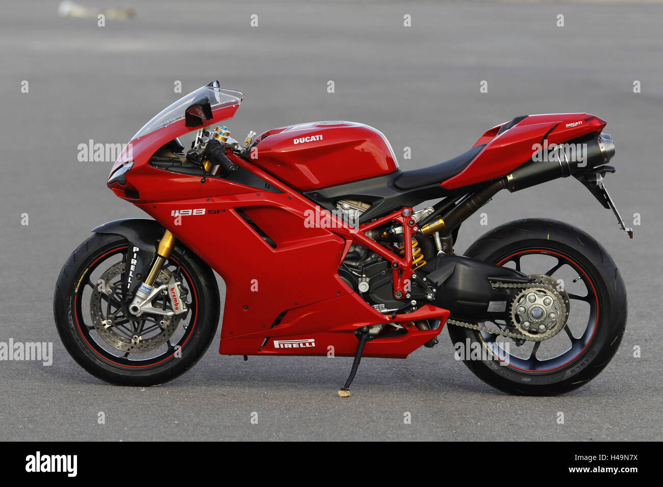 Motorcycle, Ducati 1198 SP, Almeria European 1000cc test, left side,  standing, red,