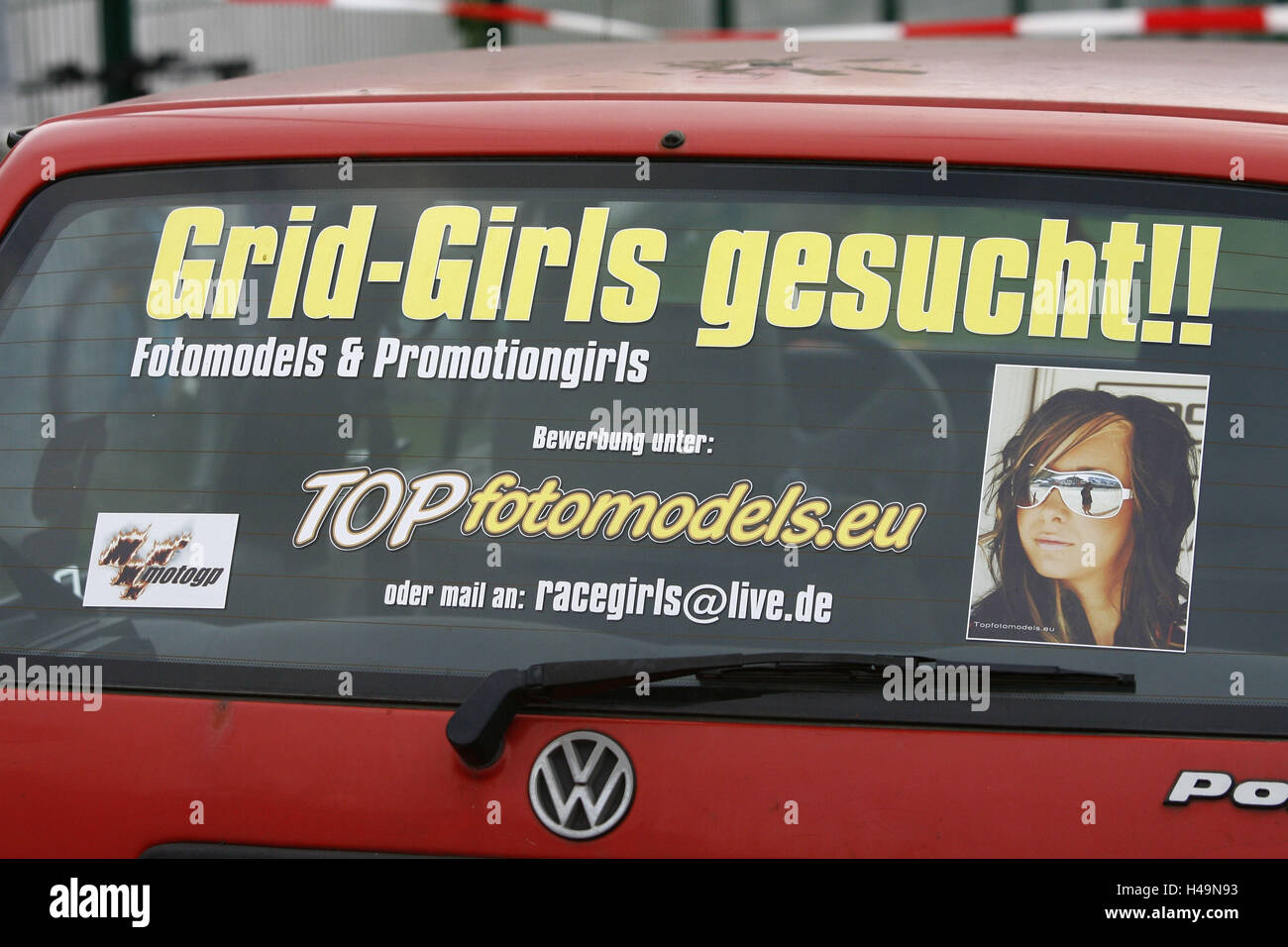 Stroke 'Grid girls in request', motorcycle Germany GP, - Stock Image