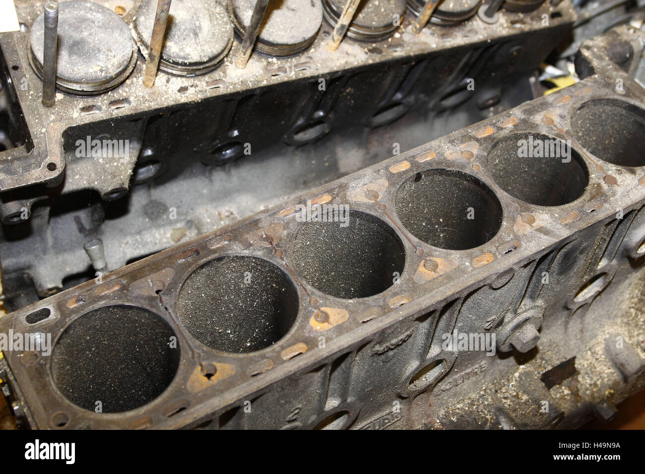 Old-timer scrap metal, rust, old engine cuts, - Stock Image