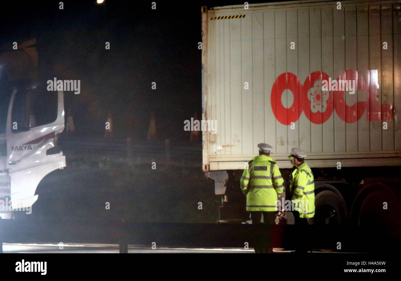 Southampton Hampshire Friday 14th October 2016 A LORRY driver was using his mobile phone when his truck crashed - Stock Image
