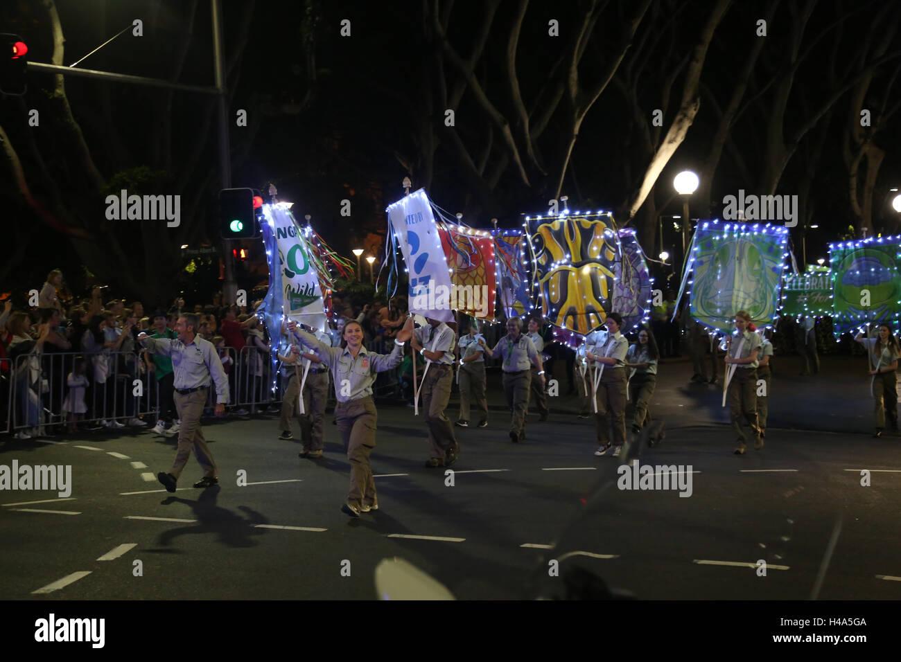 Sydney, Australia. 15 October 2016. The streets of Sydney light up to celebrate Taronga Zoo's centenary year in - Stock Image