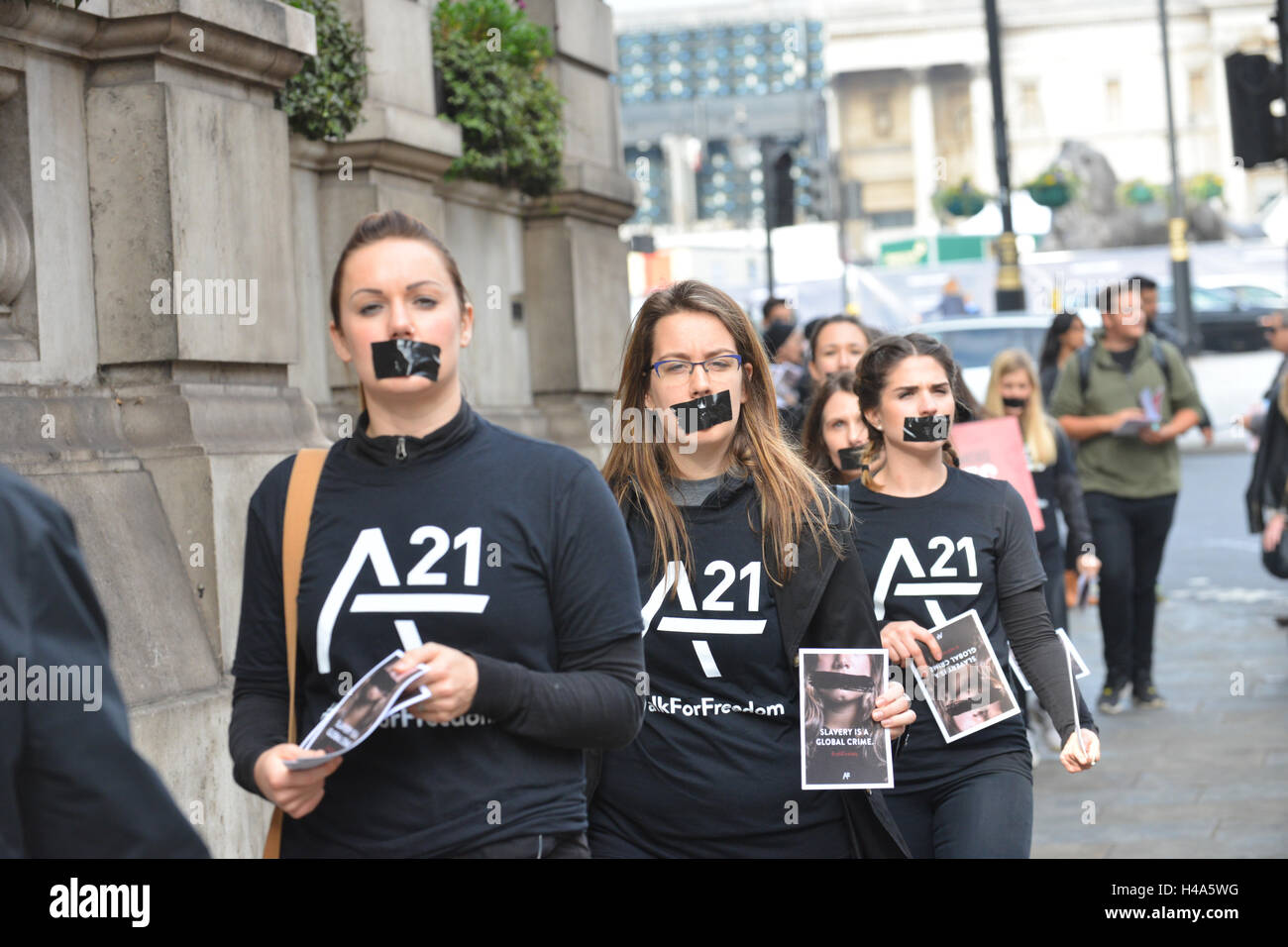 London, UK. 15th October 2016. Walk For Freedom, protest march central London. The silent march is against modern - Stock Image
