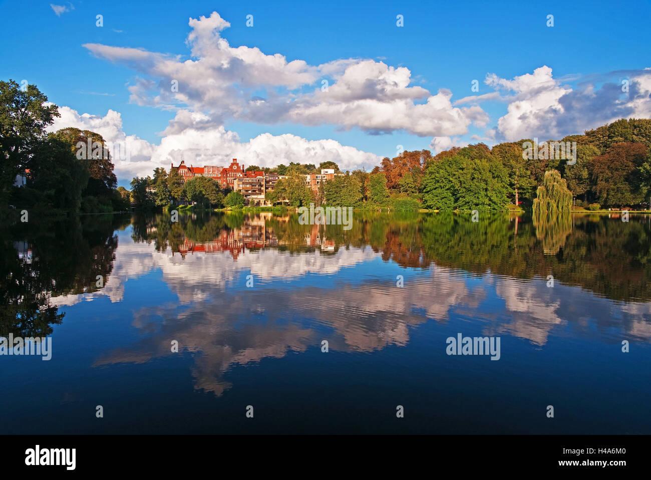 Mühlenteich of Lübeck, reflexion, water, - Stock Image