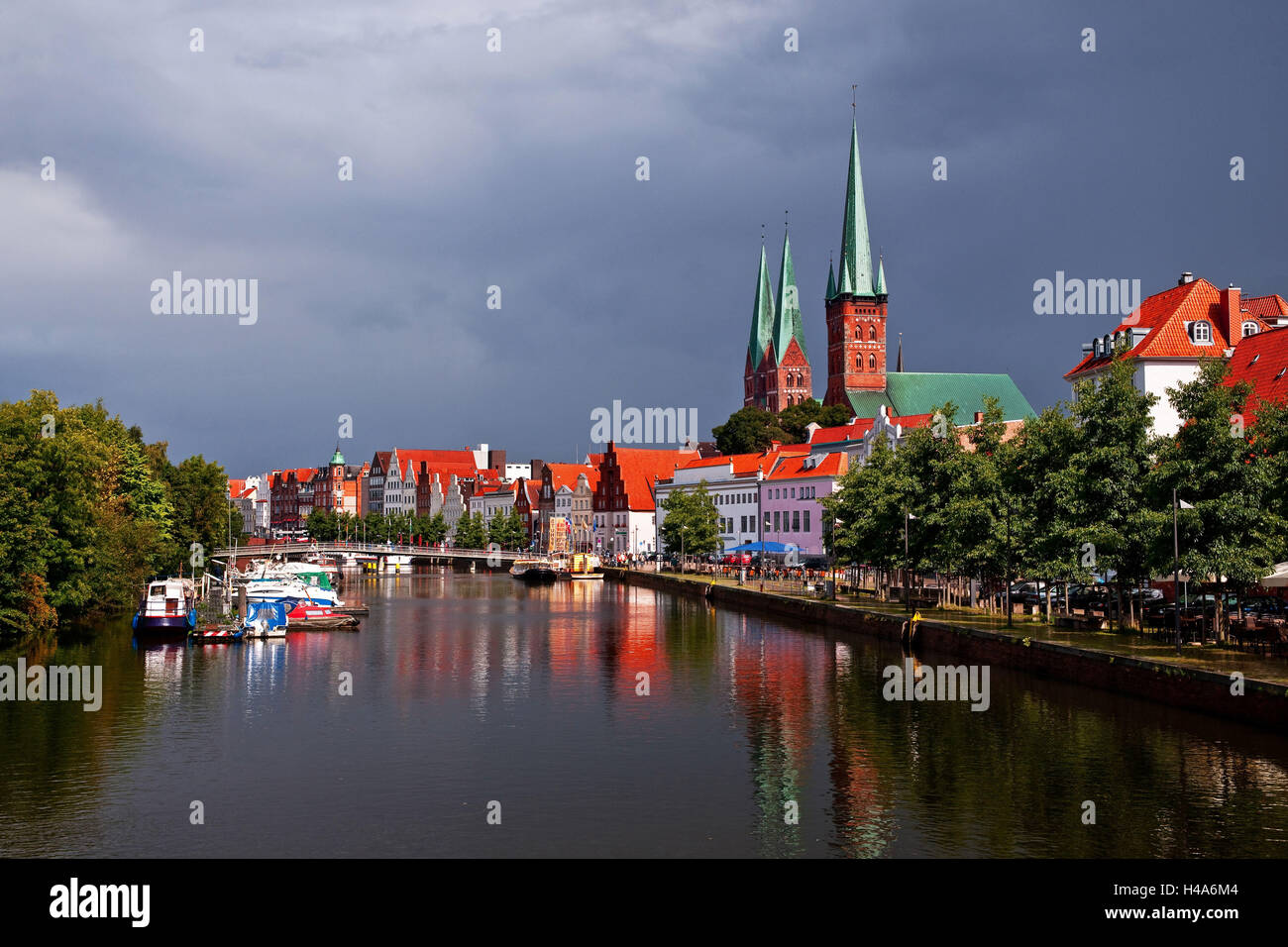 storm in front of in Lübecker Traveviertel, district, - Stock Image