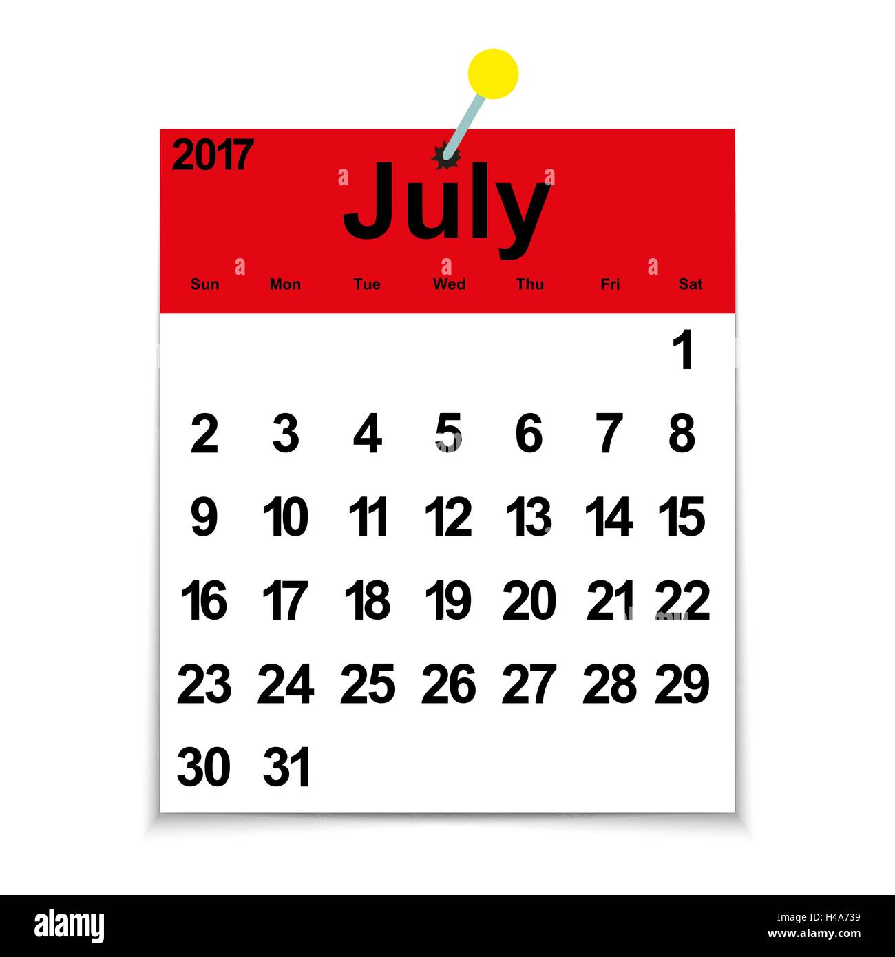 Leaf calendar 2017 with the month of July Stock Vector Art