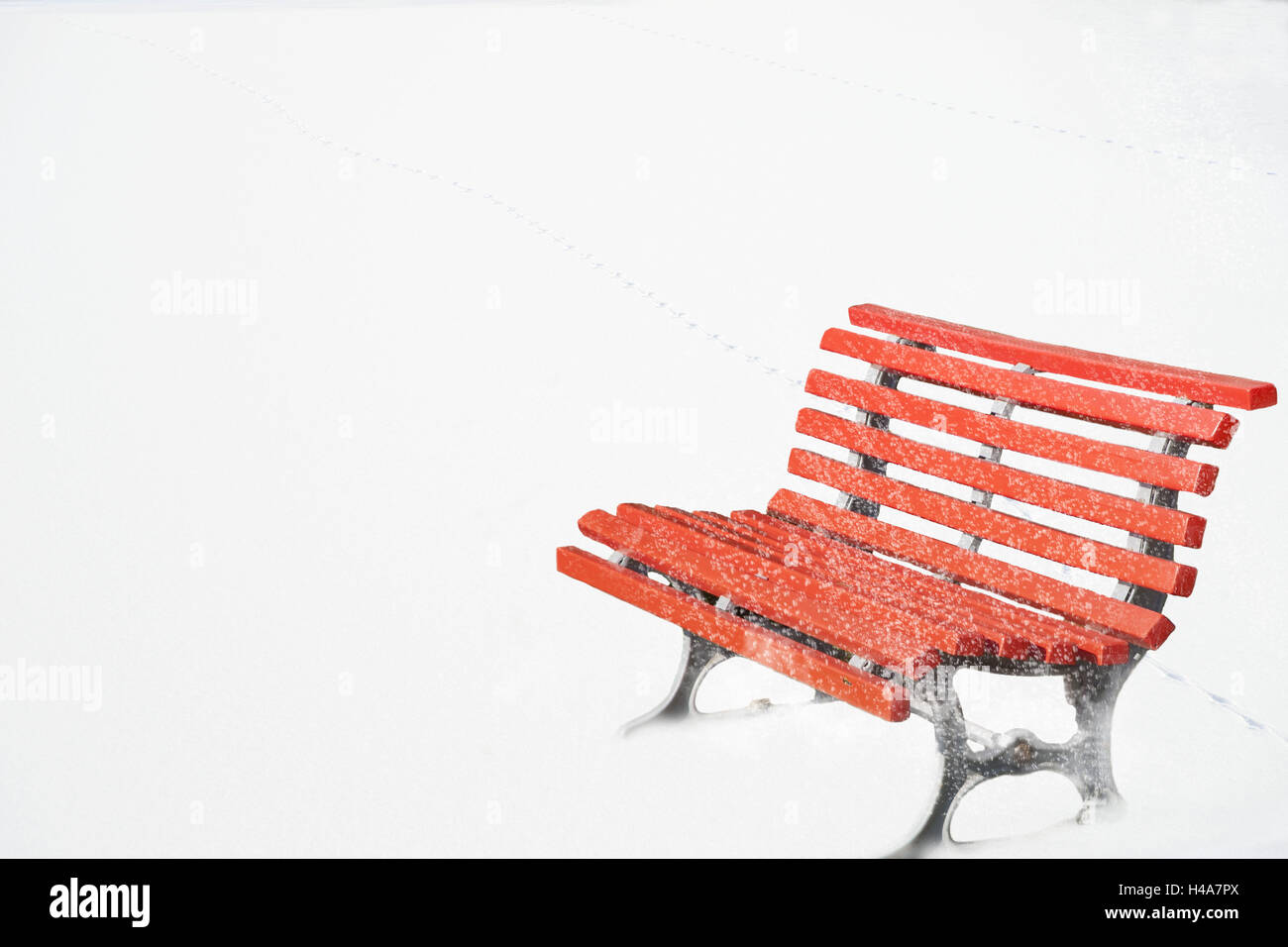 Red saddle, snow, winter, bank, garden bench, park-bench, red, blank, nobody, sit rest, rest, conception, unoccupied, - Stock Image