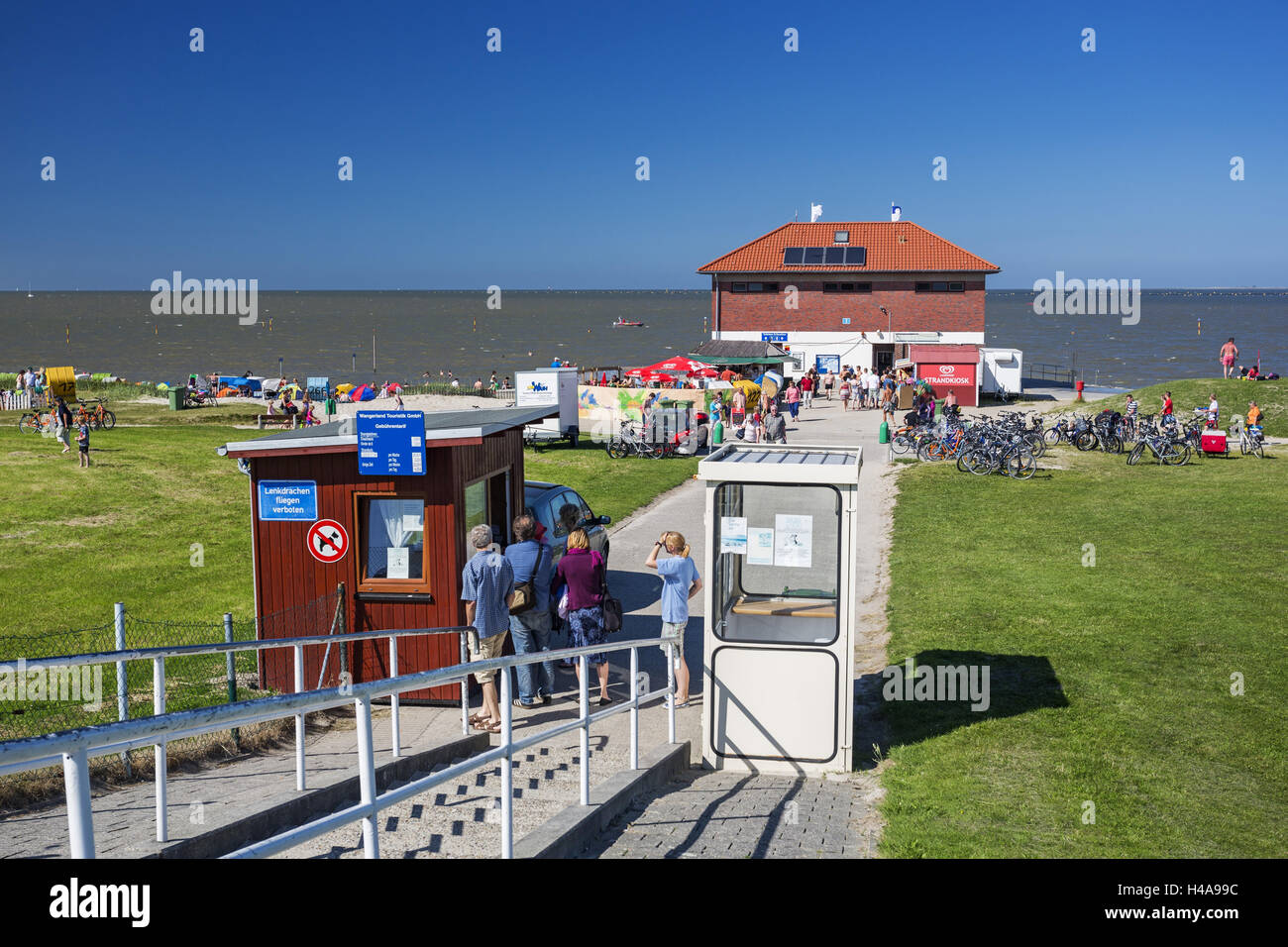 Entrance, pay booth, beach fees, meadow, beach of Hooksiel, view, Germany, Lower Saxony, - Stock Image