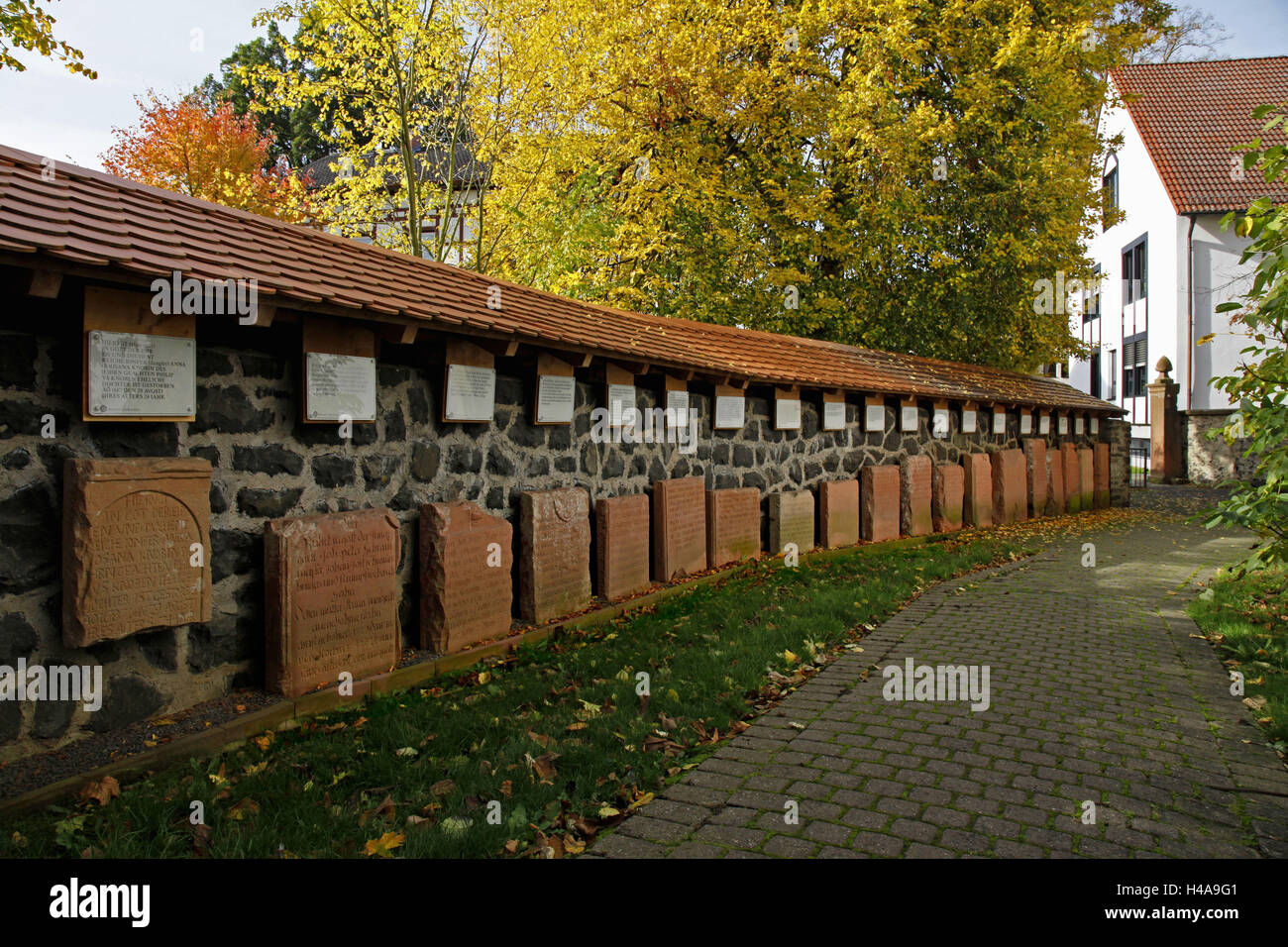 Germany, Hessen, Nidda, district Wetteraukreis, gravestones from 17. and 18. Cent., Stock Photo