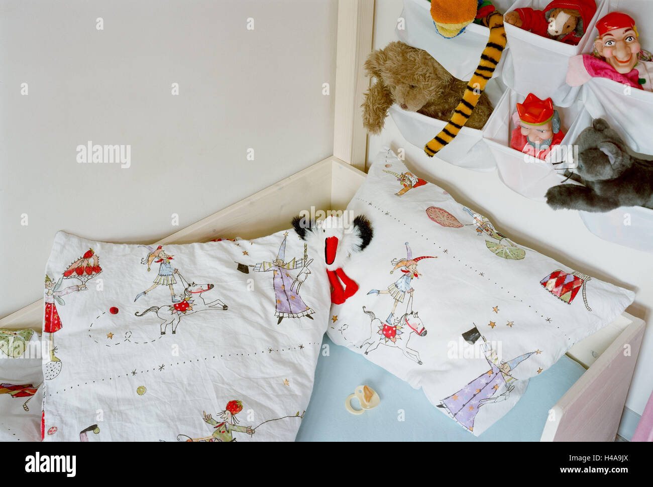 Children's rooms, bed, dummy, wall, little hanging eta, soft animals, rooms, child, cot, pillow, ceiling, wall, - Stock Image