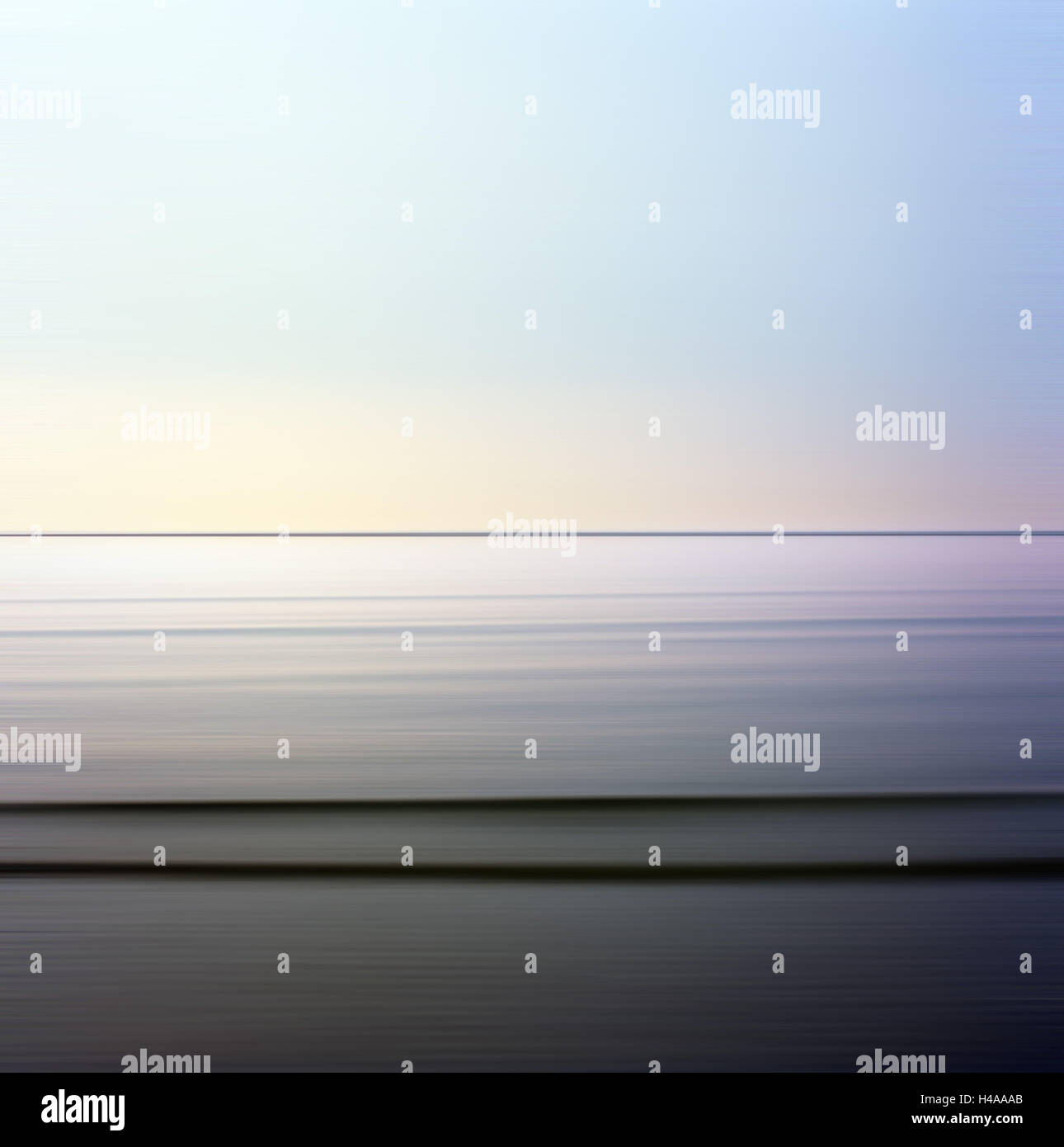 The North Sea, windless, waves, horizon, - Stock Image