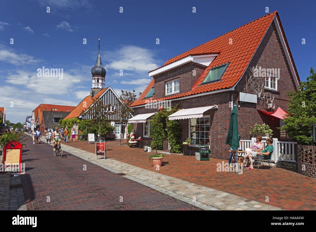 Hooksieler mussel museum with bulbous spire, early artist's house, school, city hall, health resort administration, - Stock Image