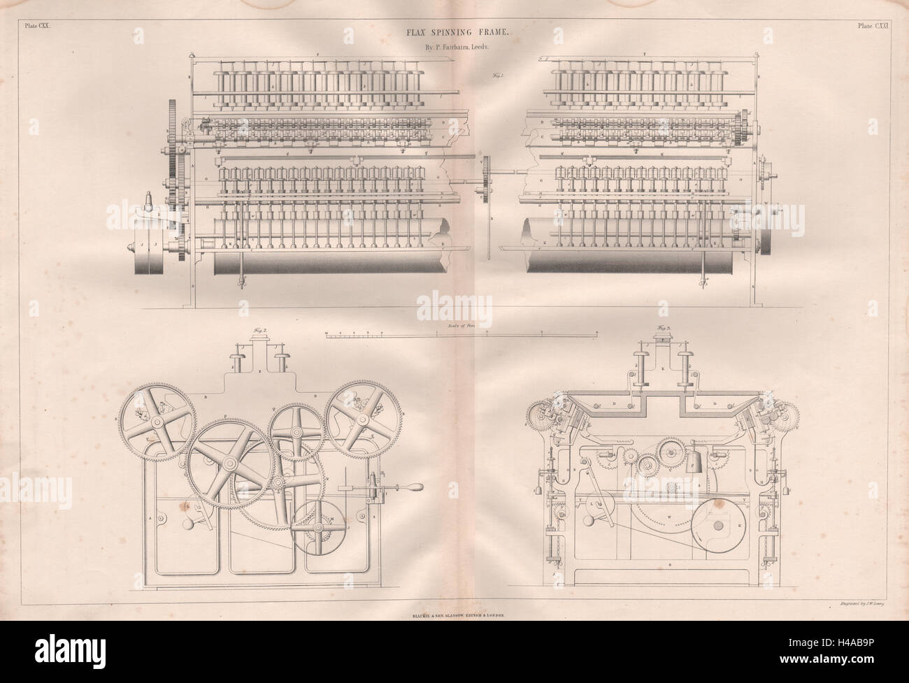 VICTORIAN ENGINEERING DRAWING. Flax spinning frame by P. Fairbairn ...