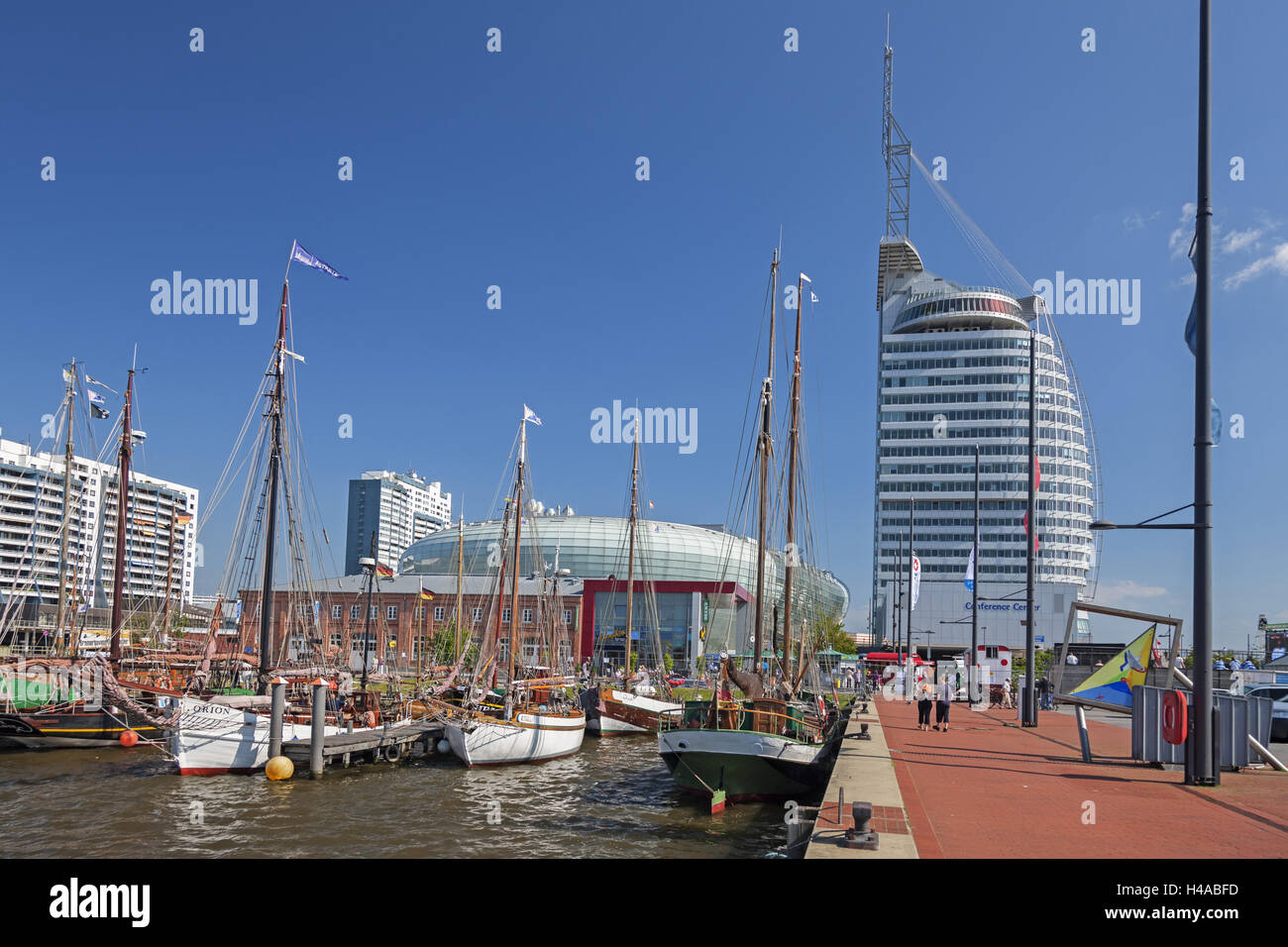 New harbour, sailing ships, harbour promenade, climate house, Atlantic hotel of Sail city, Germany, Bremerhaven, - Stock Image
