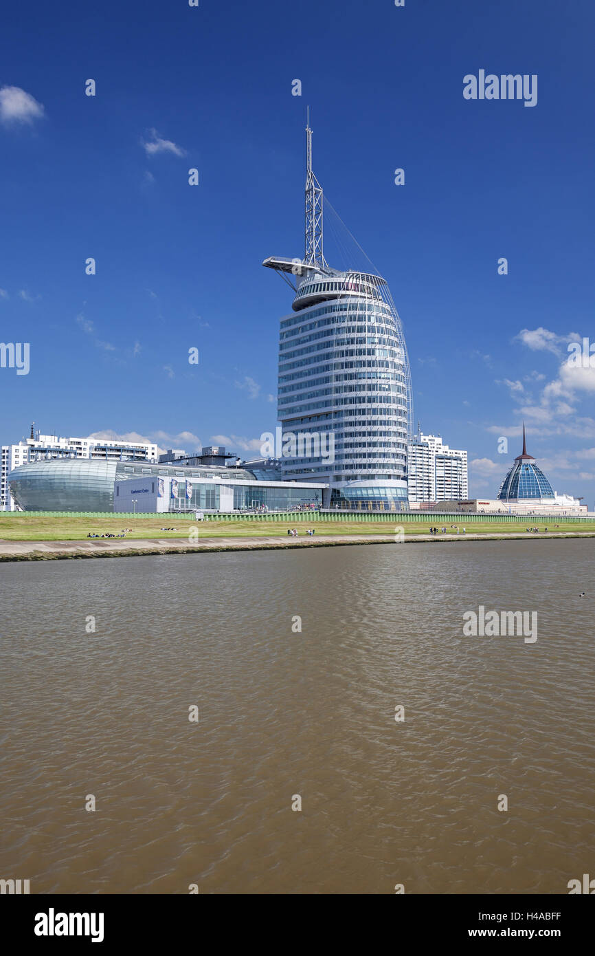 The Weser, Atlantic Sail city hotel, Germany, Bremerhaven, - Stock Image
