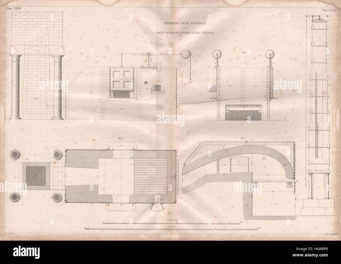 19C ENGINEERING DRAWING Wrought iron furnace. Nasmyth's patent steam hammer 1847 Stock Photo