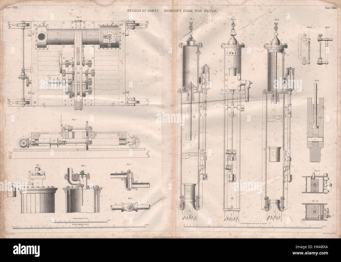 VICTORIAN ENGINEERING DRAWING. James Nasmyth's steam pile driver details 1847 Stock Photo